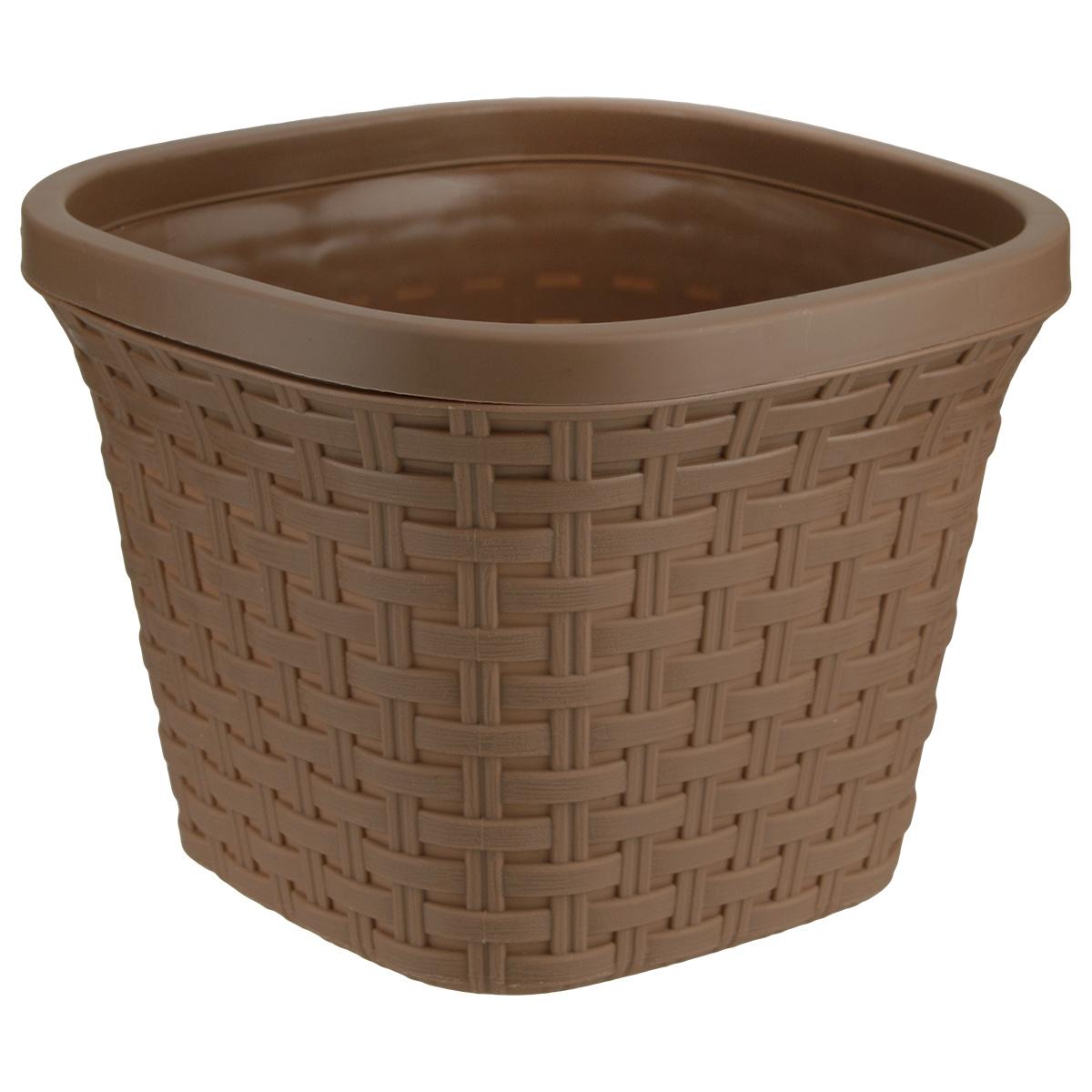 Кашпо квадратное Violet Ротанг, с дренажной системой, цвет: какао, 3,8 лBH-SI0439-WWКвадратное кашпо Violet Ротанг изготовлено из высококачественного пластика и оснащено дренажной системой для быстрого отведения избытка воды при поливе. Изделие прекрасно подходит для выращивания растений и цветов в домашних условиях. Лаконичный дизайн впишется в интерьер любого помещения.Объем: 3,8 л.