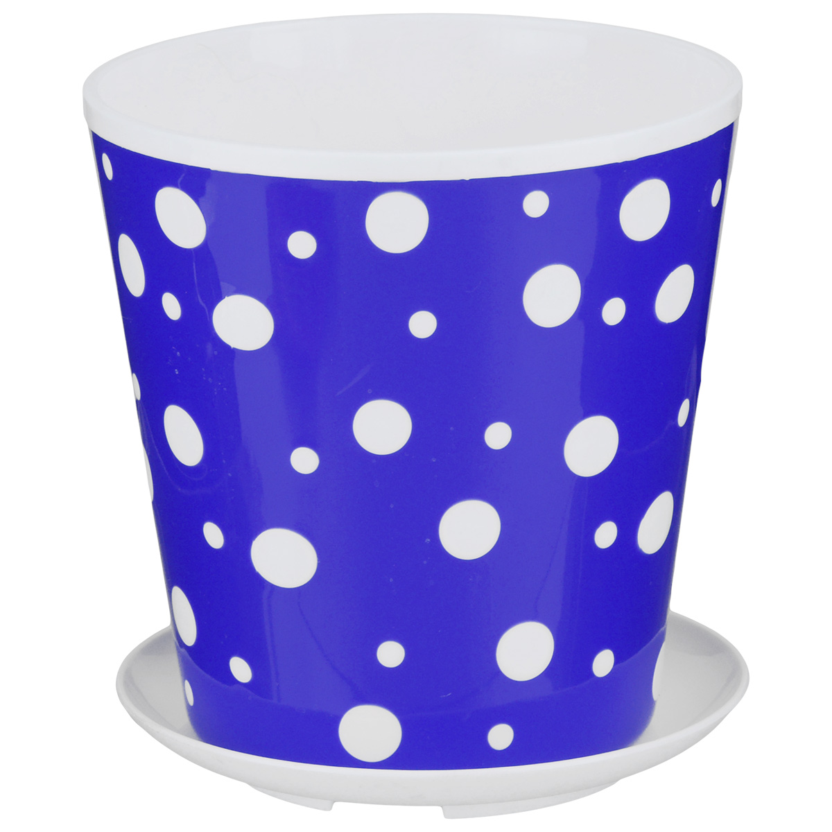 Горшок-кашпо Альтернатива Горошек, с подставкой, цвет: синий, белый, 1 лZ-0307Горшок-кашпо Альтернатива Горошек изготовлен из высококачественного пластика и оснащен круглой подставкой. Изделие подходит для выращивания растений и цветов в домашних условиях. Стильный яркий принт в горошек сделает такой горшок прекрасным дополнением интерьера. Объем горшка: 1 л. Диаметр горшка (по верхнему краю): 12 см. Высота горшка: 13 см. Диаметр подставки: 12 см.
