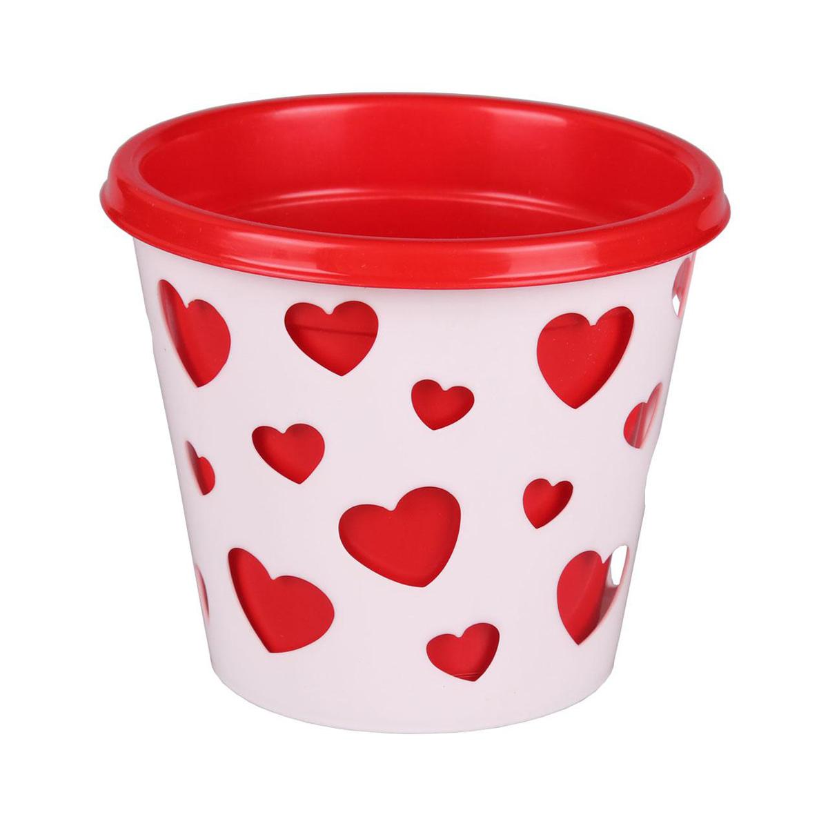 Горшок-кашпо Альтернатива Валентинка, со вставкой, цвет: красный, белый, 2 лZ-0307Горшок-кашпо Альтернатива Валентинка выполнен из высококачественного пластика. Стенки изделия декорированы перфорацией в виде сердец разного размера. В комплекте пластиковая вставка, которая вставляется в горшок-кашпо. Такой горшок-кашпо прекрасно подойдет для выращивания растений и цветов в домашних условиях. Лаконичный дизайн впишется в интерьер любого помещения. Размер горшка: 17 см х 17 см х 16,5 см. Размер вставки: 18 см х 18 см х 16 см.Объем: 2 л.