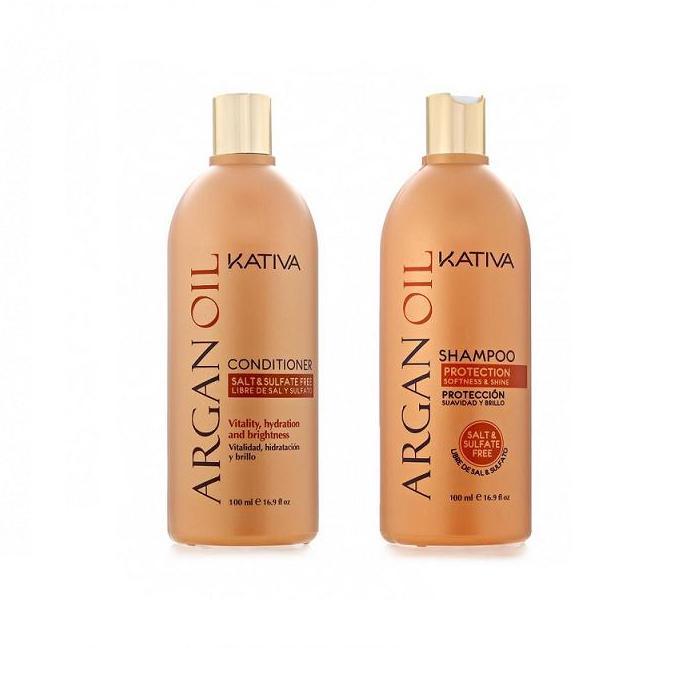 Kativa Набор увлажняющий кондиционер + шампунь с маслом Арганы 2х100мл ARGANAWS 7064Шампунь, содержащий чистейшее аргановое масло, отлично очищает волосы, придавая им желанную шелковистость. Активные компоненты, входящие в состав, возвращают волосам силу, увлажняют и разглаживают по всей длине. Шампунь защищает волосы от пересушивания, вызванного влиянием негативных факторов окружающей среды, а также способствует сохранению цвета окрашенных волос.Способ применения: Равномерно нанесите на влажные волосы, вспеньте и сделайте легкий массаж. Тщательно смойте. При необходимости повторите процедуру.Бальзам, входящий в набор, возвращает блеск и мягкость поврежденным волосам, восстанавливая их структуру. Дополняет мытье волос, покрывая их тончайшей защитной пленкой и облегчая укладку.Укрепляющий кондиционер превосходно восстанавливает природную упругость и прочность волос. Придает им игривый блеск, облегчает расчесывание и защищает от воздействия внешних факторов.Способ применения: нанесите на чистые вымытые волосы только по длине, оставьте на 5 минут для воздействия, а затем тщательно смойте. Регулярное применение комплекса восстанавливает волосы по всей длине и отлично защищает их от повреждений. Объем: 2х100мл