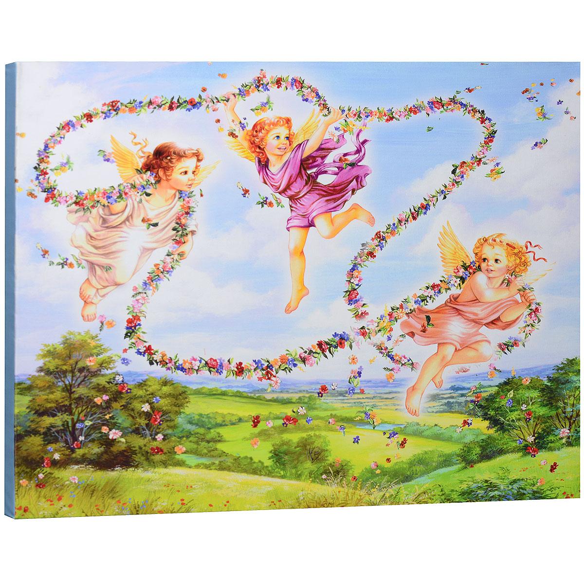 КвикДекор Картина на холсте Маленькие ангелы, 60 см х 50 смБрелок для ключейКартина на холсте КвикДекор Маленькие ангелы автора Зорина Балдеску дополнит обстановку интерьера яркими красками и необычным оформлением. Изделие представляет собой картину с латексной печатью на натуральном хлопчатобумажном холсте. Галерейная натяжка холста на подрамники выполнена очень аккуратно, а боковые части картины запечатаны тоновой заливкой. Обратная сторона подрамника содержит отверстие, благодаря которому картину можно легко закрепить на стене и подкорректировать ее положение.Автор картины специализируется на создании восхитительных сказочных образов - русалок, принцесс, фей, единорогов и многих других. Сказки, иллюстрированные Зориной, - особый, волшебный и очаровательный мир, подаренный нам художницей посредством ее искусства и неисчерпаемой фантазии.Картина Маленькие ангелы отлично подойдет к интерьеру не только детской комнаты, но и гостиной.Картина поставляется в стрейч-пленке с защитными картонными уголками, упакована в гофрокоробку с термоусадкой.