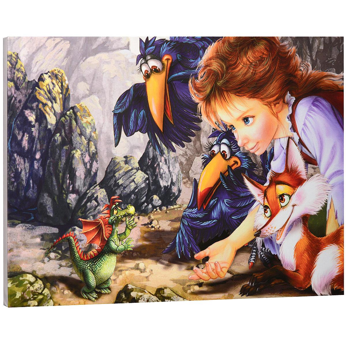 КвикДекор Картина на холсте  Разговор с дракончиком , 60 см х 40 см -  Детская комната