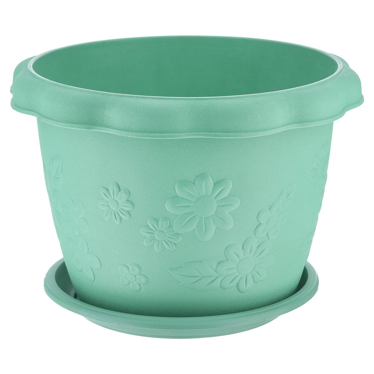 Кашпо Ludu Цветы, с поддоном, цвет: зеленый, диаметр 26 смKOC_SOL373Кашпо Ludu Цветы изготовлено из высококачественного пластика. Специальный поддон предназначен для стока воды. Изделие прекрасно подходит для выращивания растений и цветов в домашних условиях. Лаконичный дизайн впишется в интерьер любого помещения. Диаметр поддона: 21,5 см.