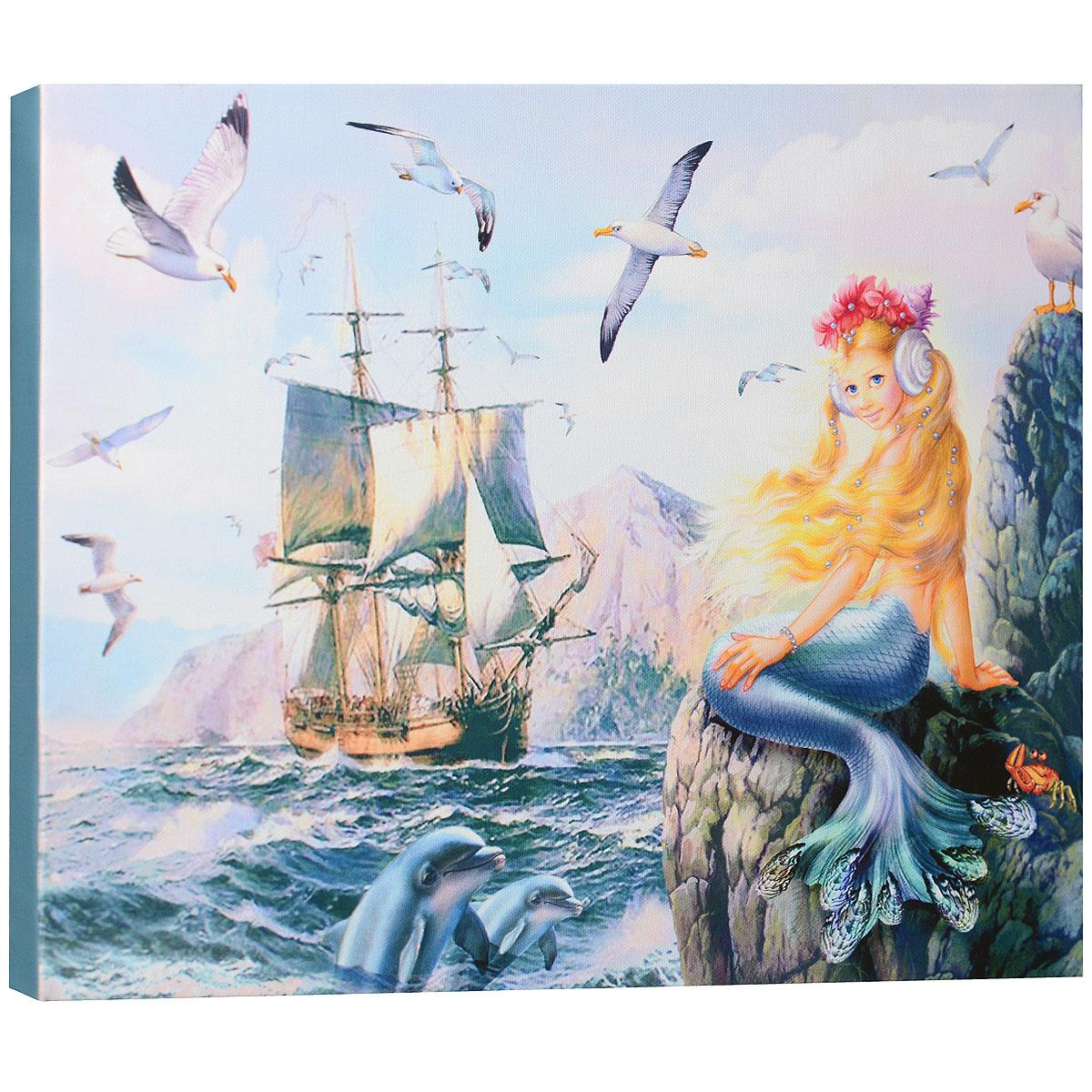 """Картина на холсте КвикДекор """"Морская принцесса"""" автора Зорина Балдеску дополнит обстановку интерьера яркими красками и необычным оформлением. Изделие представляет собой картину с латексной печатью на натуральном хлопчатобумажном холсте. Галерейная натяжка холста на подрамники выполнена очень аккуратно, а боковые части картины запечатаны тоновой заливкой. Обратная сторона подрамника содержит отверстие, благодаря которому картину можно легко закрепить на стене и подкорректировать ее положение. Автор картины специализируется на создании восхитительных сказочных образов - русалок, принцесс, фей, единорогов и многих других. Сказки, иллюстрированные Зориной, - особый, волшебный и очаровательный мир, подаренный нам художницей посредством ее искусства и неисчерпаемой фантазии. Картина """"Морская принцесса"""" отлично подойдет к интерьеру не только детской комнаты, но и гостиной. Картина поставляется в стрейч-пленке с защитными картонными уголками, упакована в..."""