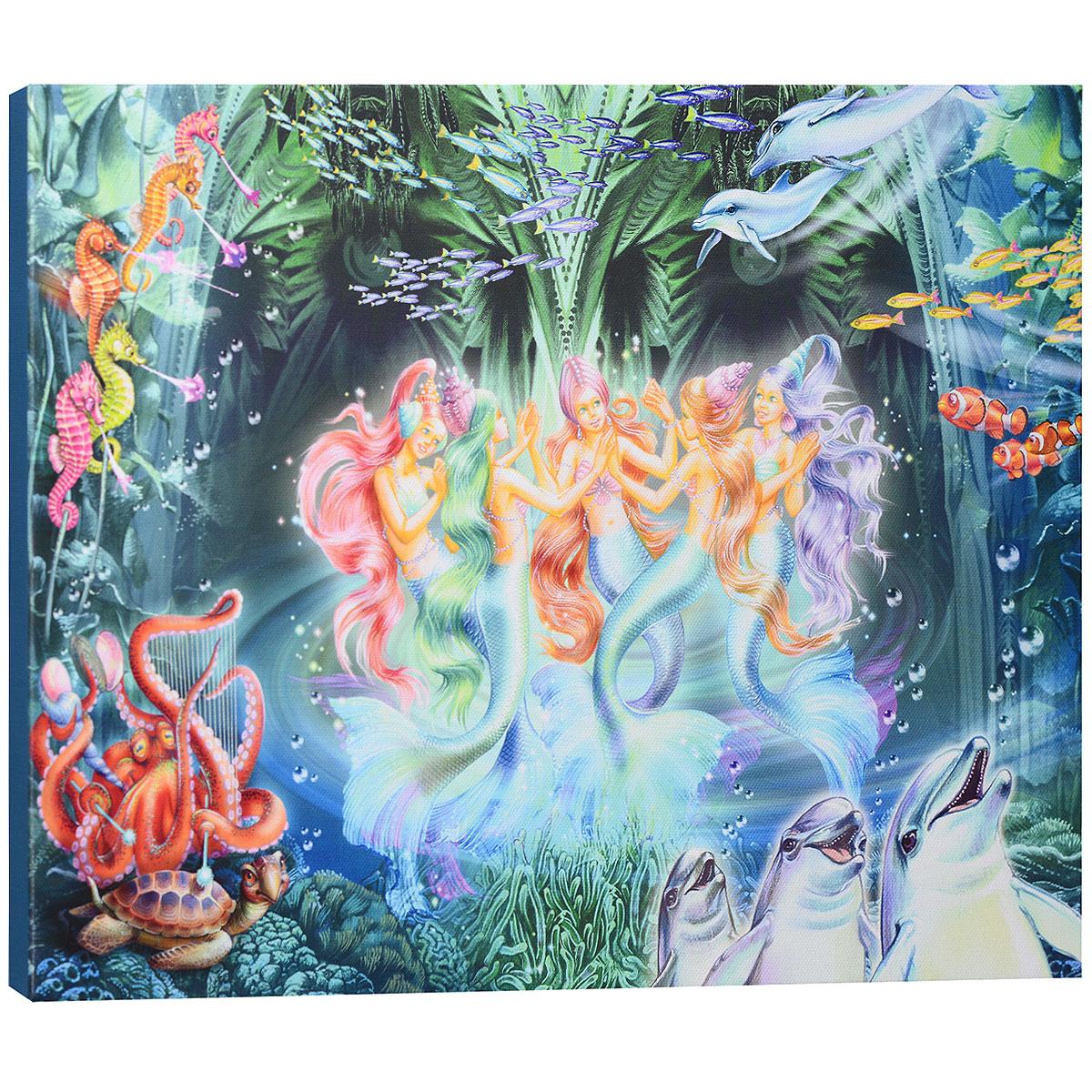 """Картина на холсте КвикДекор """"Танцующие русалки"""" автора Зорина Балдеску дополнит обстановку интерьера яркими красками и необычным оформлением. Изделие представляет собой картину с латексной печатью на натуральном хлопчатобумажном холсте. Галерейная натяжка холста на подрамники выполнена очень аккуратно, а боковые части картины запечатаны тоновой заливкой. Обратная сторона подрамника содержит отверстие, благодаря которому картину можно легко закрепить на стене и подкорректировать ее положение. Автор картины специализируется на создании восхитительных сказочных образов - русалок, принцесс, фей, единорогов и многих других. Сказки, иллюстрированные Зориной, - особый, волшебный и очаровательный мир, подаренный нам художницей посредством ее искусства и неисчерпаемой фантазии. Картина """"Танцующие русалки"""" отлично подойдет к интерьеру не только детской комнаты, но и гостиной. Картина поставляется в стрейч-пленке с защитными картонными уголками, упакована в..."""