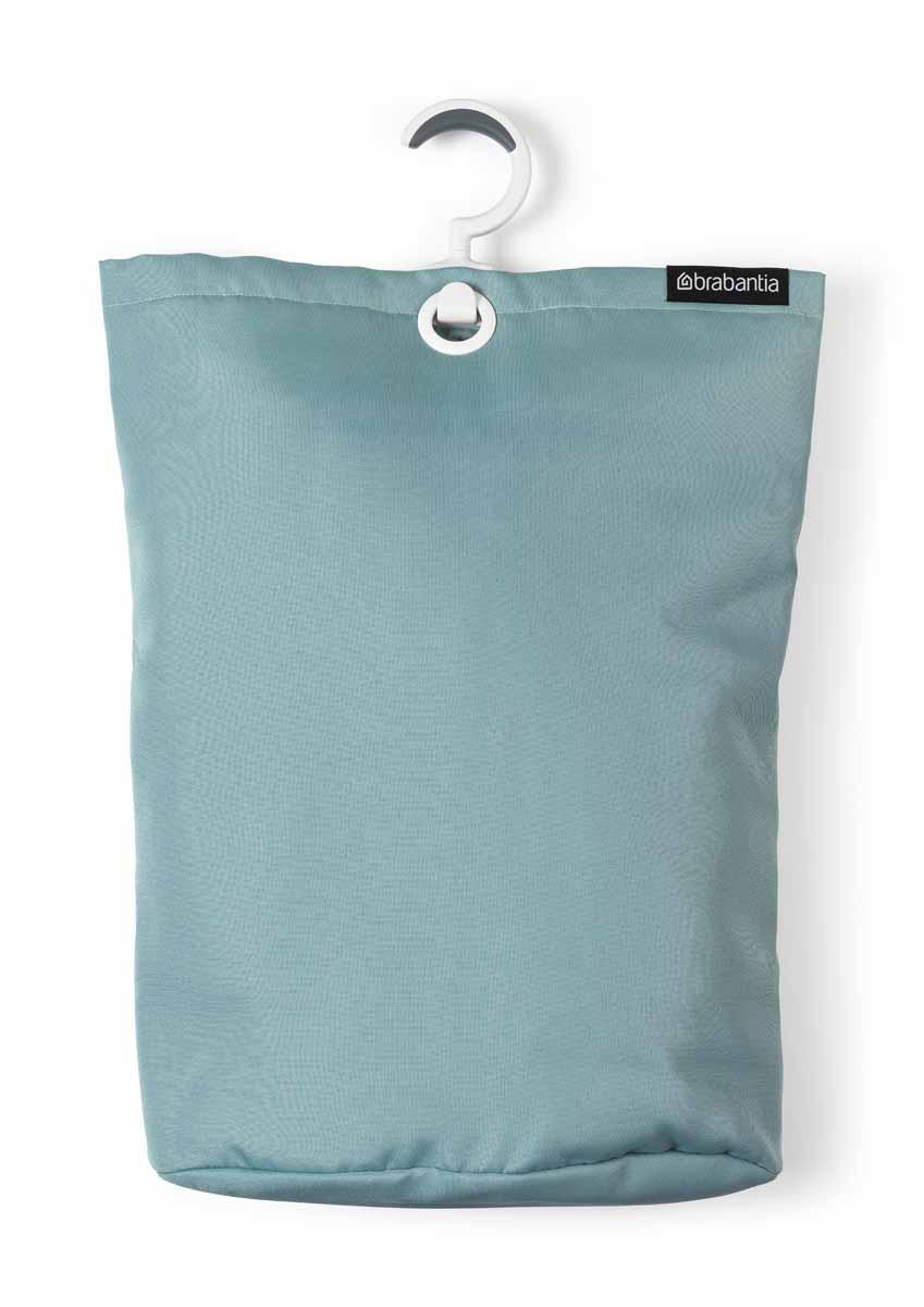 Сумка для белья Brabantia, подвесная, цвет: мятный41619Прочная текстильная сумка для белья Brabantia - это отличное приобретение для вашего дома. Порой грязное белье можно найти в самых неожиданных местах. Чтобы этого избежать, просто положите его в сумку и повесьте в каждой комнате - получаем идеальный порядок! Если вы собрались стирать, просто выгрузите белье в стиральную машину, перевернув за специальную петельку, расположенную на дне сумки. Сумка существенно экономит место, ее можно подвесить на ручку двери, бельевую веревку, в шкаф. Изделие имеет большой вращающийся крючок с нескользящей поверхностью, выполненный из пластика. Сумка вместительна - объем до 35 литров.