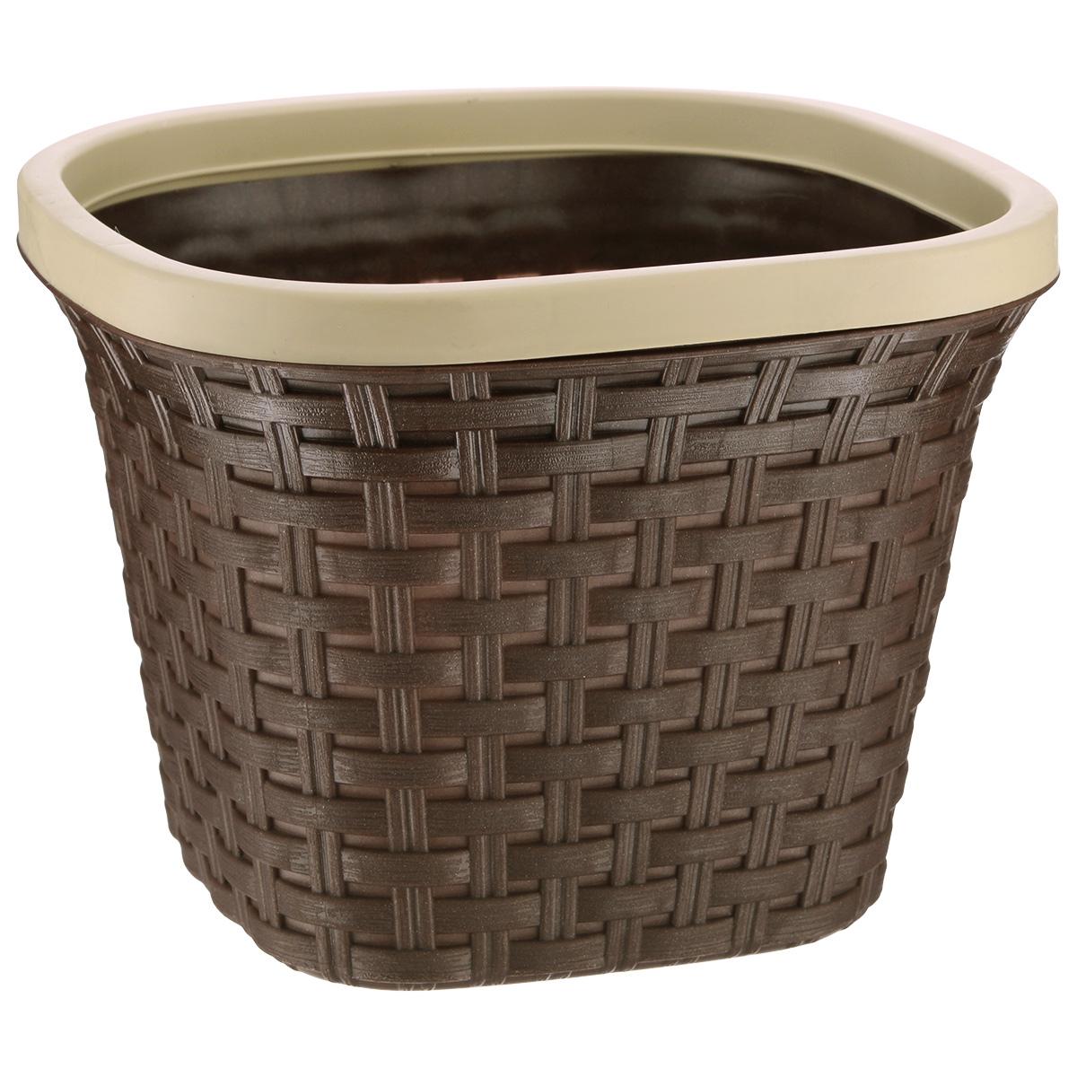 Кашпо Violet Ротанг, с дренажной системой, цвет: коричневый, 2,6 лZ-0307Кашпо Violet Ротанг изготовлено из высококачественного пластика и оснащено дренажной системой для быстрого отведения избытка воды при поливе. Изделие прекрасно подходит для выращивания растений и цветов в домашних условиях. Лаконичный дизайн впишется в интерьер любого помещения.Объем: 2,6 л.