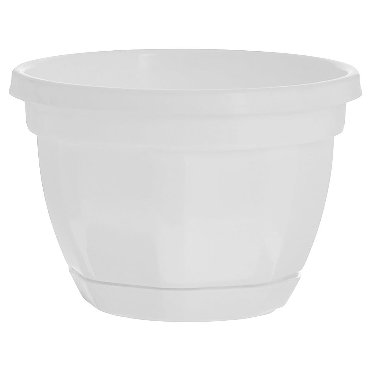 Кашпо Инстар Ника, с поддоном, цвет: белый, диаметр 20 смМ 3053Кашпо Инстар Ника изготовлено из прочного пластика и предназначено для выращивания растений, цветов и трав в домашних условиях. Специальный поддон собирает воду. Такое кашпо порадует вас дизайном и функциональностью, а также прекрасно подойдет под любой интерьер.