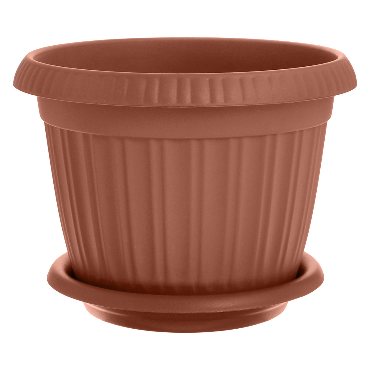 Горшок для цветов InGreen Таити, с подставкой, цвет: коричневый, диаметр 23 см32220/17Горшок InGreen Таити выполнен из высококачественного полипропилена (пластика) и предназначен для выращивания цветов, растений и трав. Снабжен подставкой для стока воды.Такой горшок порадует вас функциональностью, а благодаря лаконичному дизайну впишется в любой интерьер помещения.Диаметр горшка по верхнему краю: 23 см. Высота горшка: 17,5 см. Диаметр подставки: 19 см.