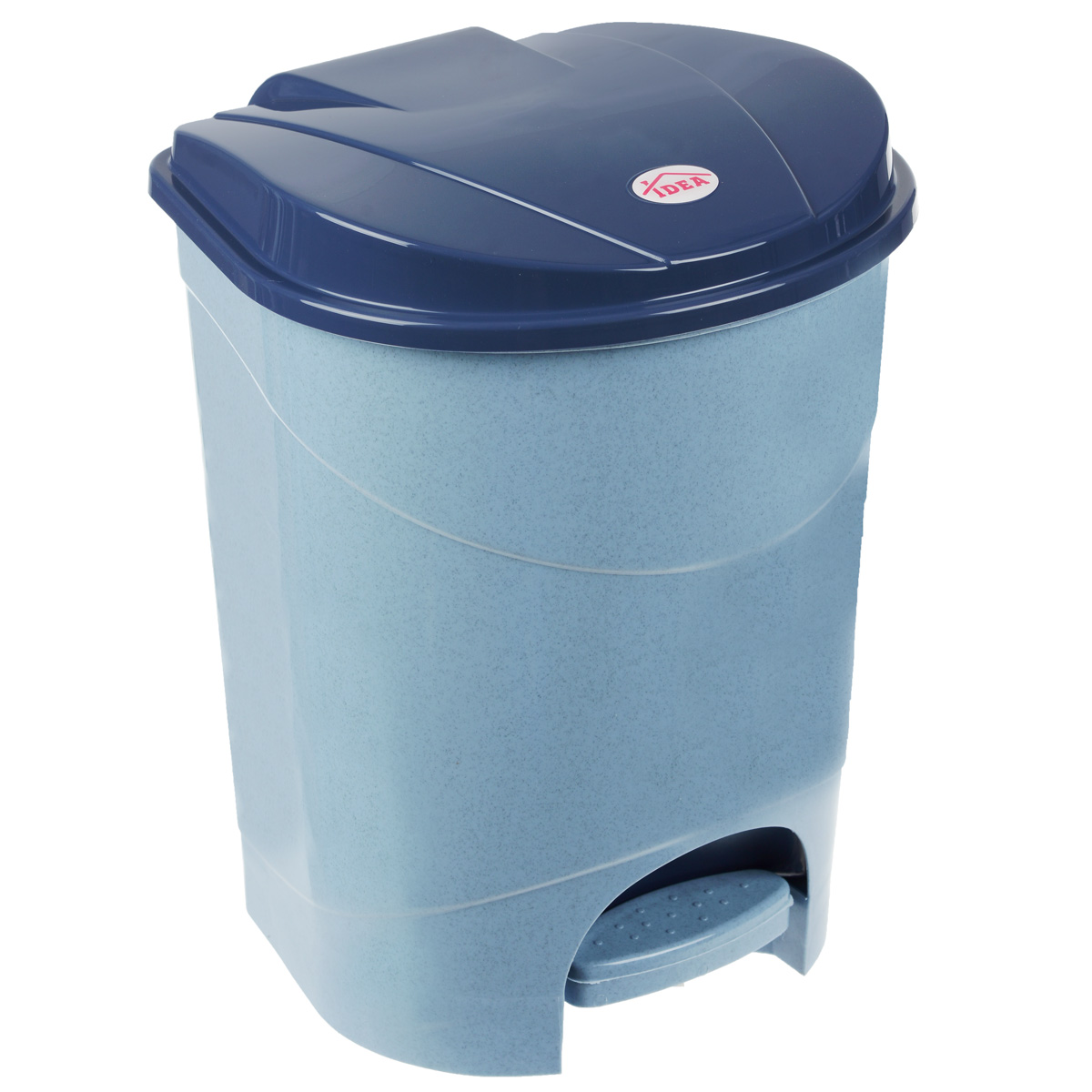 Контейнер для мусора Idea, с педалью, цвет: голубой мрамор, 11 л68/5/3Мусорный контейнер Idea, выполненный из прочного пластика, не боится ударов и долгих лет использования. Изделие оснащено педалью, с помощью которой можно открыть крышку. Закрывается крышка практически бесшумно, плотно прилегает, предотвращая распространение запаха. Внутри пластиковая емкость для мусора, которую при необходимости можно достать из контейнера. Интересный дизайн разнообразит интерьер кухни и сделает его более оригинальным.