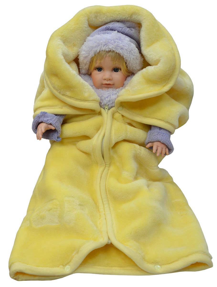 Bonne Fee Плед-накидка для младенцев на молнии 80 х 90 см цвет желтый