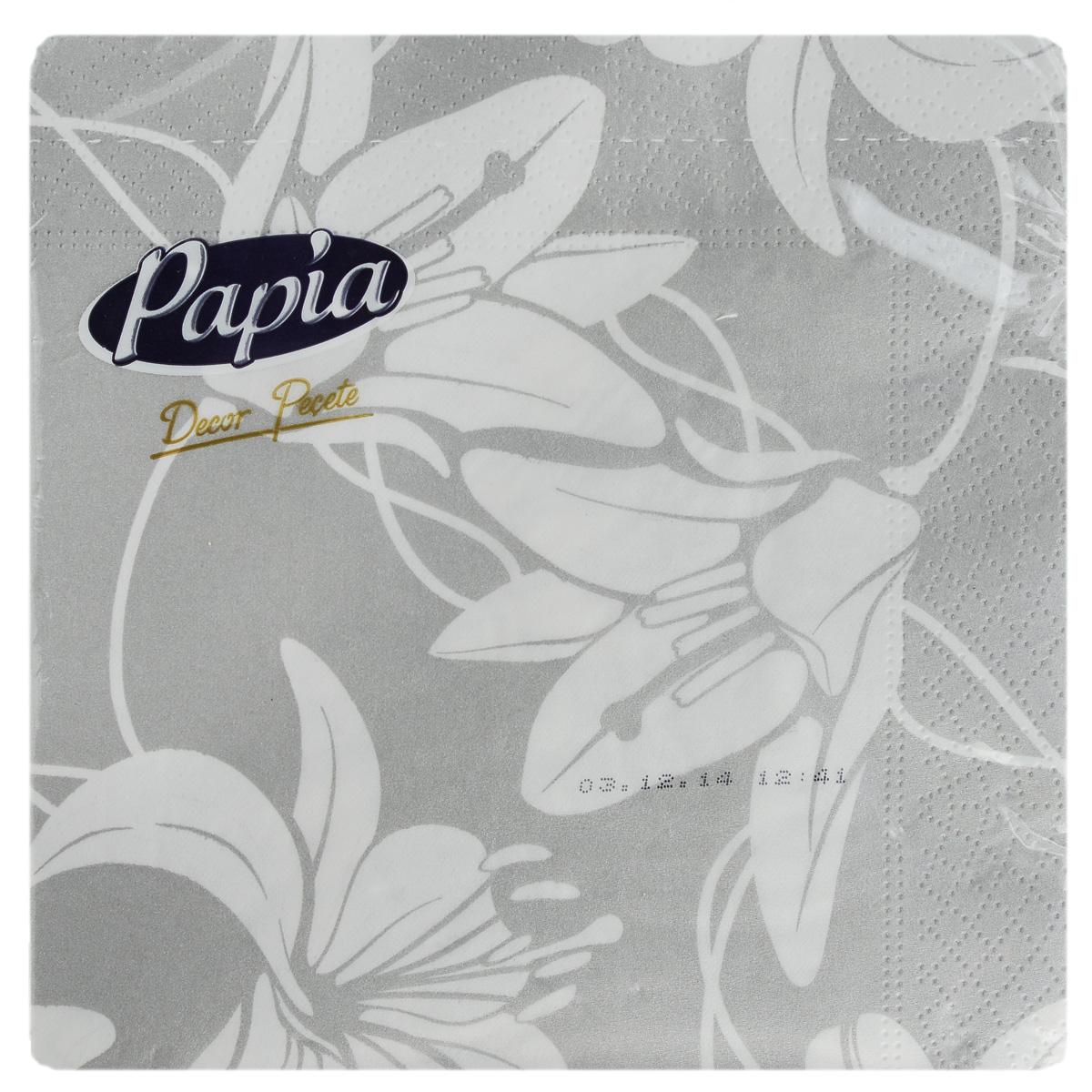 Салфетки бумажные Papia Decor, трехслойные, цвет: белый, серый, 33 x 33 см, 20 штIRK-503Трехслойные салфетки Papia Decor, выполненные из 100% целлюлозы, оформлены красочным рисунком. Салфетки предназначены для красивой сервировки стола. Оригинальный дизайн салфеток добавит изысканности вашему столу и поднимет настроение. Размер салфеток: 33 см х 33 см.