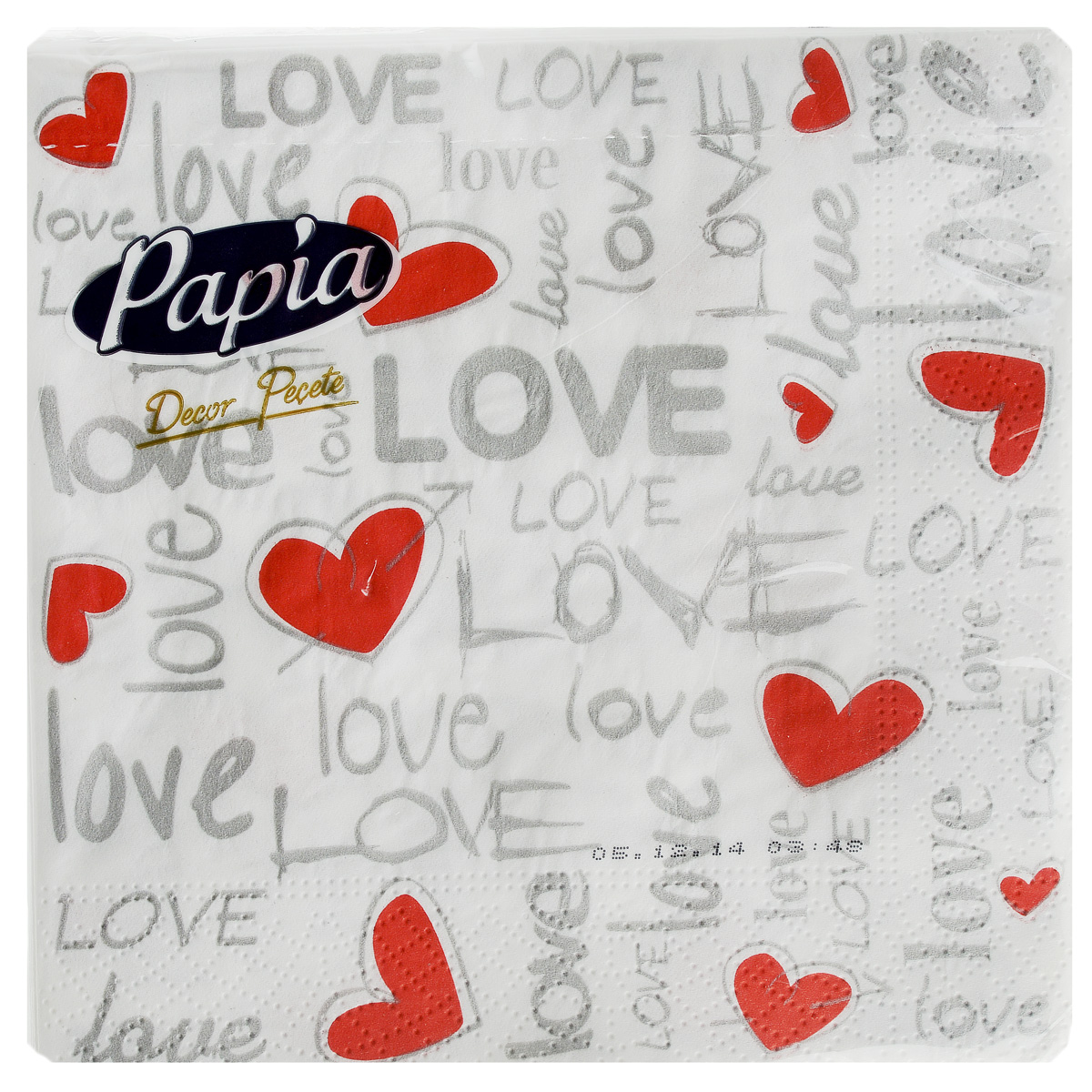 Салфетки бумажные Papia Decor, трехслойные, цвет: белый, серый, красный, 33 x 33 см, 20 шт391602Трехслойные салфетки Papia Decor, выполненные из 100% целлюлозы, оформлены красочным рисунком. Салфетки предназначены для красивой сервировки стола. Оригинальный дизайн салфеток добавит изысканности вашему столу и поднимет настроение. Размер салфеток: 33 см х 33 см.