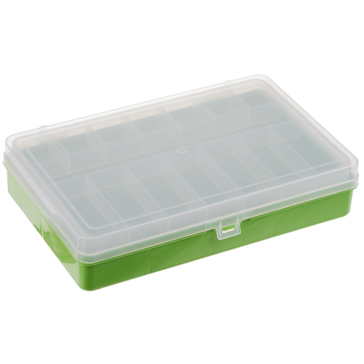 Органайзер для мелочей, 2-х ярусный, 3 тип, 23,5 см х 14,5 см х 5 см, цвет: зеленый, прозрачный