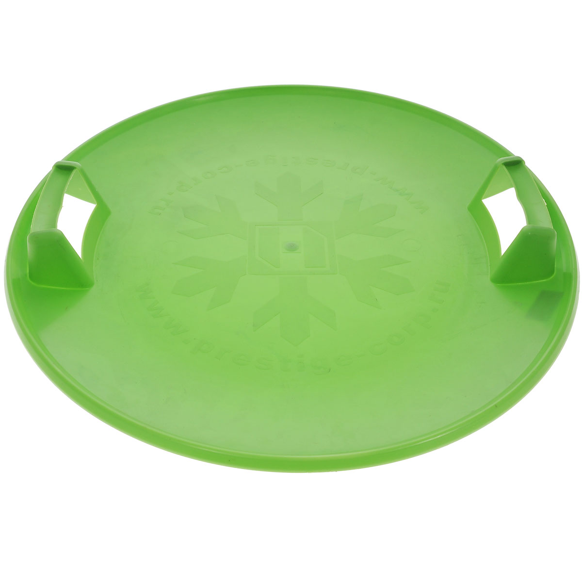 Санки-ледянки Престиж Экстрим, с пластиковыми ручками, цвет: зеленый, диаметр 58 см267111Санки-ледянки Престиж Экстрим подарят море позитивного настроения холодной зимой, ведь на них так весело съезжать с крутых ледяных склонов! Легкие, прочные санки из морозостойкого пластика прослужат долго. Санки имеют две пластиковые ручки для удобства катания и ношения. Дно санок украшено рельефным изображением снежинки. Диаметр санок: 58 см.