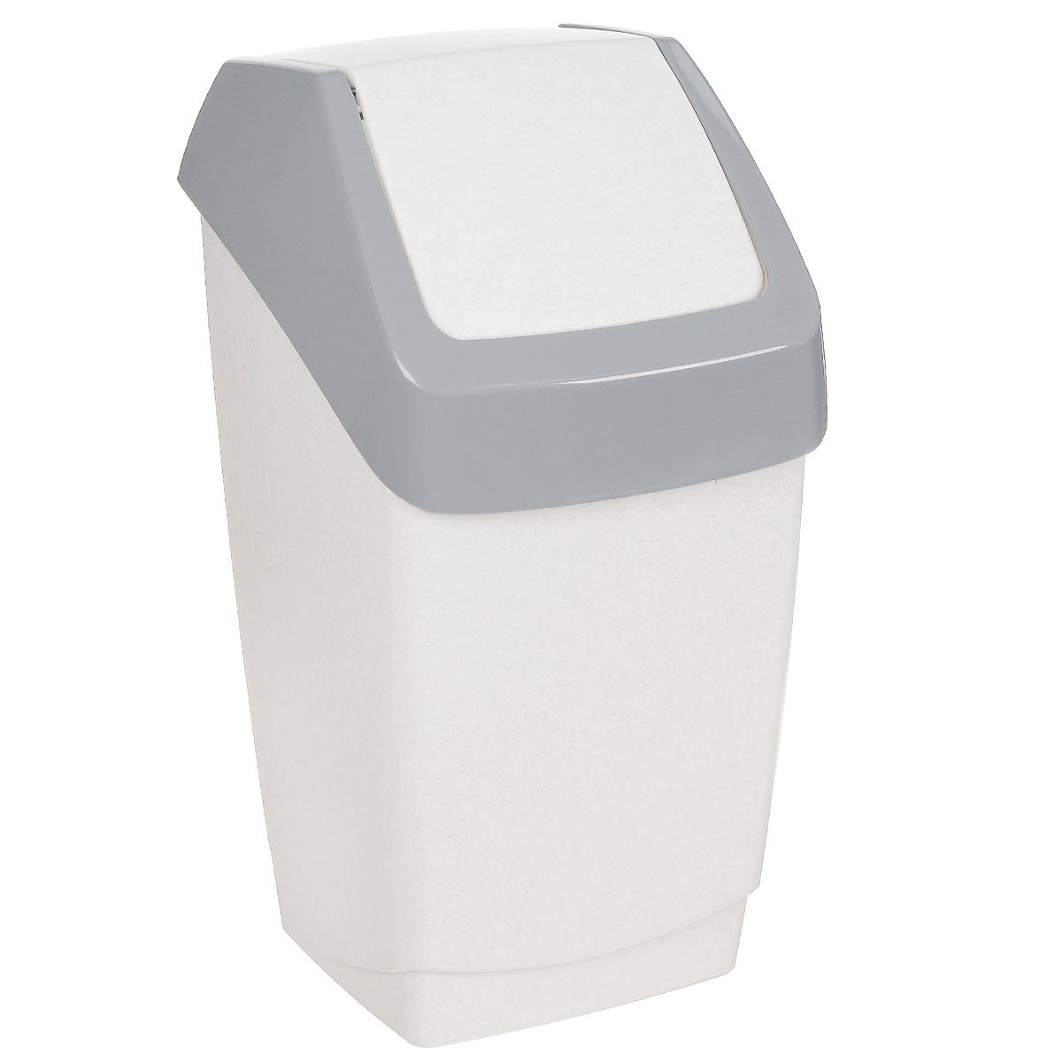 Контейнер для мусора Idea Хапс, цвет: белый мрамор, 15 л12723Контейнер для мусора Idea Хапс изготовлен из прочного полипропилена (пластика). Контейнер снабжен удобной съемной крышкой с подвижной перегородкой. Благодаря лаконичному дизайну такой контейнер идеально впишется в интерьер и дома, и офиса.