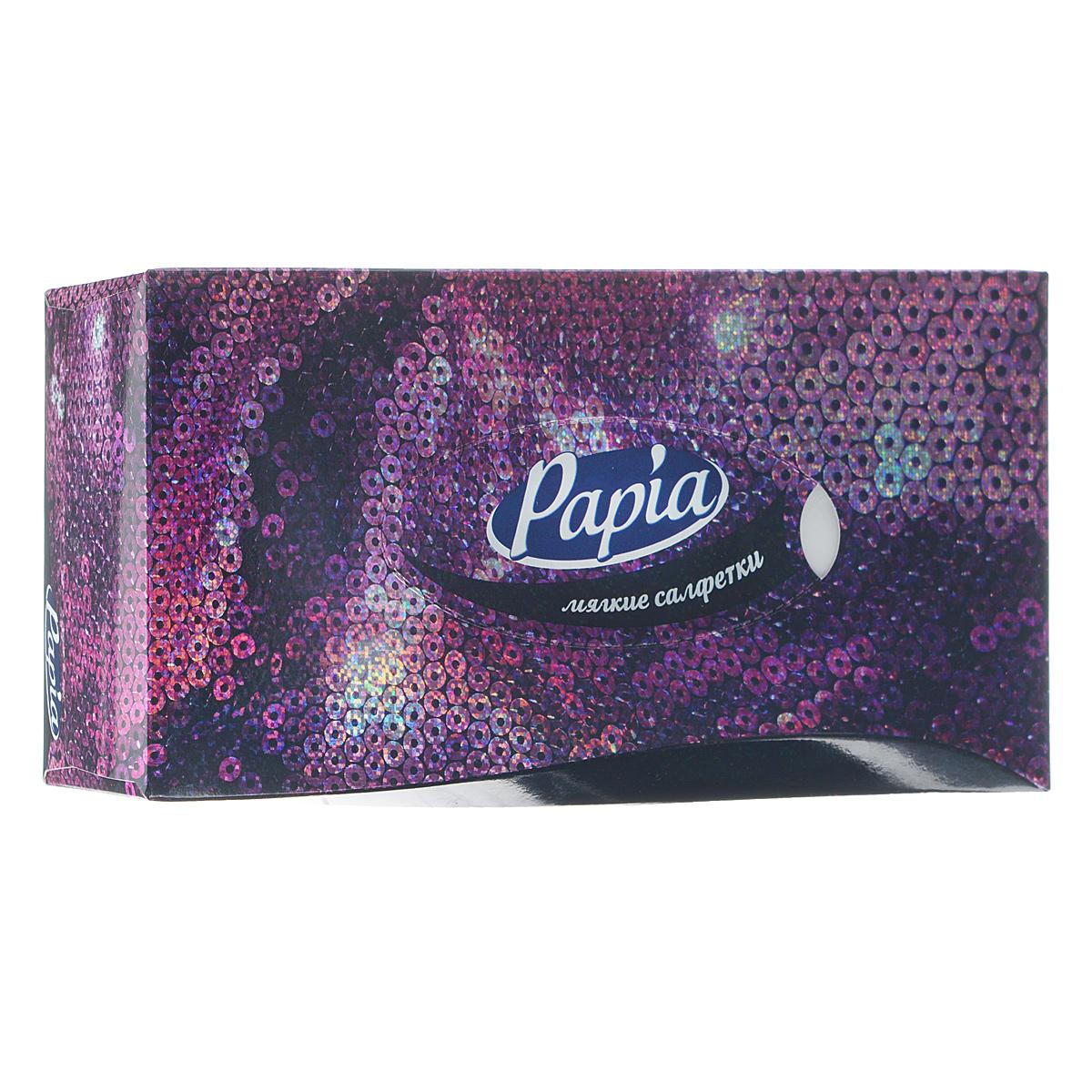 Салфетки бумажные Papia, трехслойные, цвет: фиолетовый, 21 x 21 см, 80 штIRK-503Трехслойные салфетки Papia выполнены из 100% целлюлозы. Салфетки подходят для косметического, санитарно-гигиенического и хозяйственного назначения. Нежные и мягкие, они удивят вас не только своим высоким качеством, но и внешним видом. Изделия упакованы в коробку, поэтому их удобно использовать дома или взять с собой в офис или машину. Размер салфеток: 21 х 21 см.