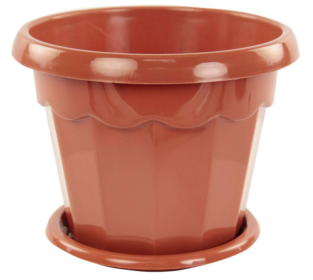 Горшок для цветов Альтернатива Гармония, с поддоном, цвет: коричневый, 1,5 л, диаметр 16,5 смМ 8623Цветочный горшок Альтернатива Гармония выполнен из пластика и предназначен для выращивания в нем цветов, растений и трав. Такой горшок порадует вас современным дизайном и функциональностью, а также оригинально украсит интерьер помещения. Изделие декорировано рельефным рисунком. К горшку прилагается поддон.Диаметр по верхнему краю: 16,5 см.Диаметр дна: 10 см.Высота горшка: 12,5 см.Диаметр поддона: 13 см.