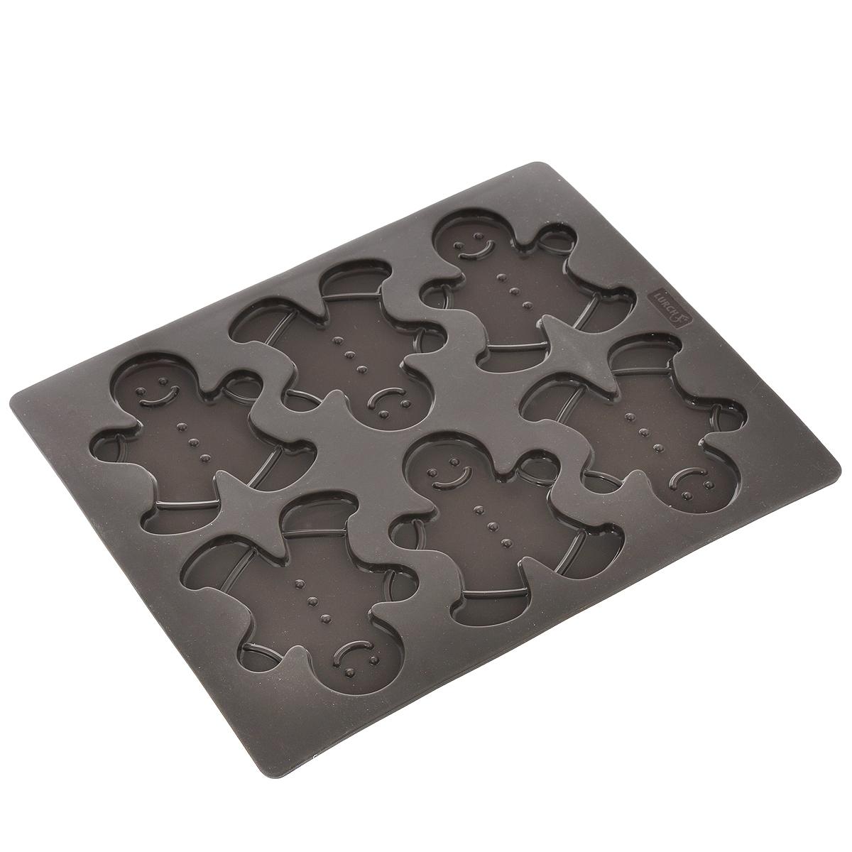 Форма для выпечки Lurch Flexi Form, цвет: коричневый, 6 ячеекFS-91909Форма Lurch Flexi Form будет отличным выбором для всех любителей выпечки. Благодаря тому, что форма изготовлена из платинового силикона, готовую выпечку вынимать легко и просто. Изделие выполнено в форме прямоугольника с 6 ячейками в виде человечков. Форма прекрасно подойдет для выпечки печенья. Хорошие энергетические показатели позволяют снизить температуру выпекания примерно на 10%. Поэтому время выпекания и температура всегда выбираются для вашей печи.Можно мыть в посудомоечной машине, использовать в морозильной камере до температуры -40°C. Количество ячеек: 6 шт.Общий размер формы: 30 см х 24 см х 0,5 см.Размер ячейки: 8,9 см х 10,5 см х 0,5 см.