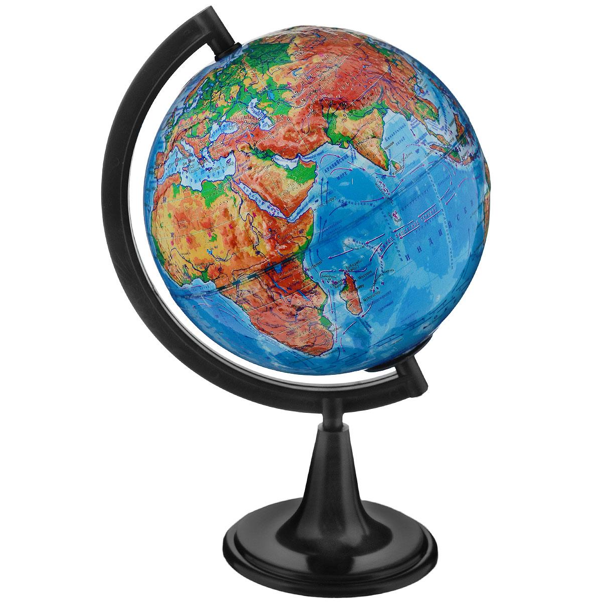 Географический глобус рельефный с физической картой мира станет незаменимым атрибутом обучения не только школьника, но и студента. На глобусе отображены линии картографической сетки, гидрографическая сеть, рельеф суши и морского дна, крупнейшие населенные пункты, теплые и холодные течения. Глобус снабжен меридианом с градусными отметками, а также имеет функцию подсветки от электрической сети. Глобус является уменьшенной и практически не искаженной моделью Земли и предназначен для использования в качестве наглядного картографического пособия, а также для украшения интерьера квартир, кабинетов и офисов. Красочность, повышенная наглядность визуального восприятия взаимосвязей, отображенных на глобусе объектов и явлений, в сочетании с простотой выполнения по нему различных измерений делают глобус доступным широкому кругу потребителей для получения разнообразной познавательной, научной и справочной информации о Земле. Глобус на оригинальной пластиковой подставке черного...
