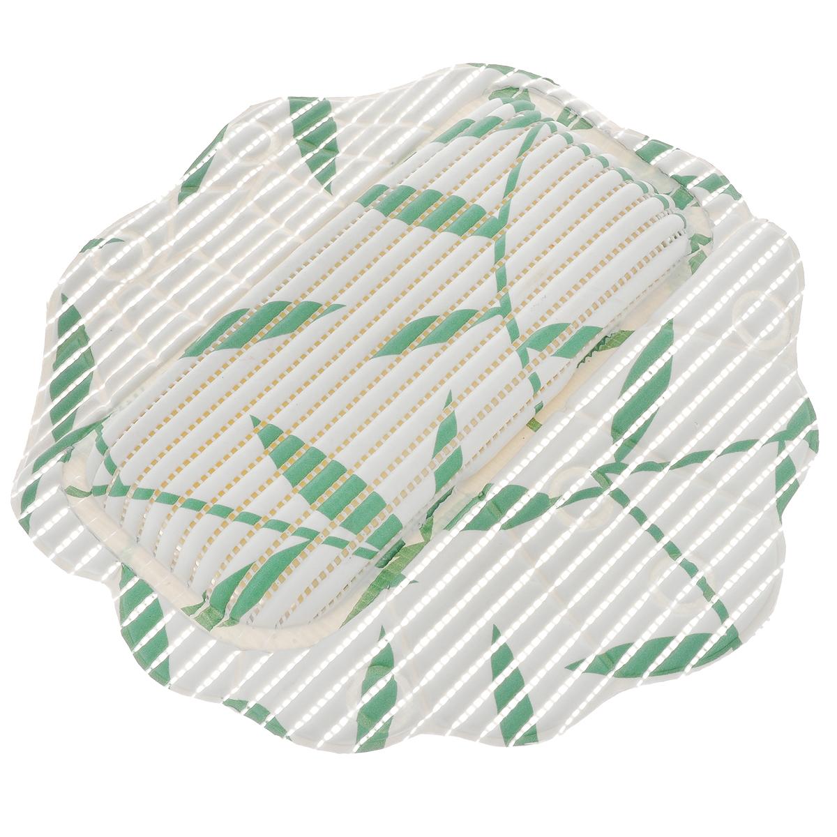 Подушка для ванны Fresh Code Flexy, на присосках, цвет: белый, зеленый, 33 см х 33 см97678Подушка для ванны Fresh Code Flexy обеспечивает комфорт во время принятия ванны. Крепится на поверхность ванной с помощью присосок. Выполнена из ПВХ.