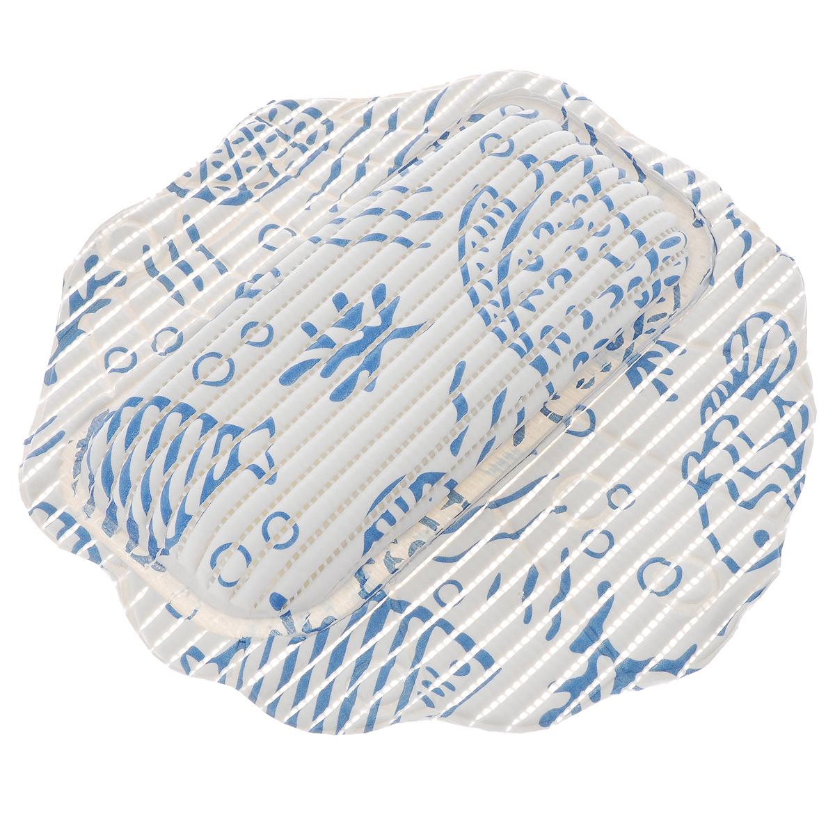 Подушка для ванны Fresh Code Flexy, на присосках, цвет: белый, синий, 33 х 33 см68/5/3Подушка для ванны Fresh Code Flexy обеспечивает комфорт во время принятия ванны. Крепится на поверхность ванной с помощью присосок. Выполнена из ПВХ.