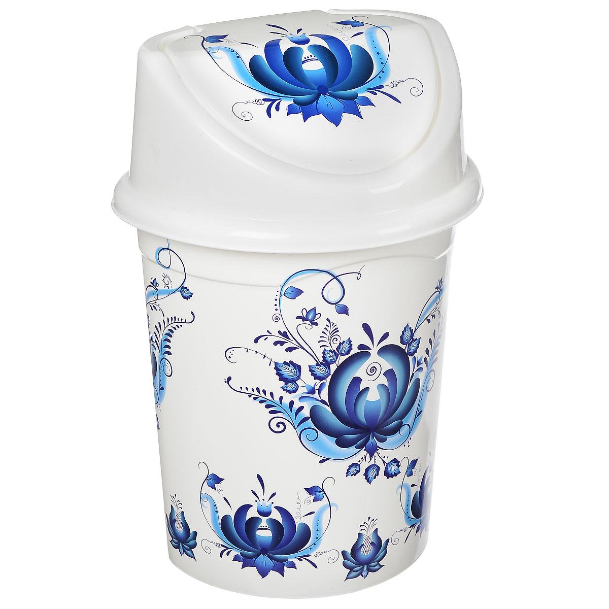 Контейнер для мусора Violet Гжель, цвет: белый, синий, 14 л12723Контейнер для мусора Violet Гжель изготовлен из прочного пластика. Контейнер снабжен удобной съемной крышкой с подвижной перегородкой. Благодаря стильному дизайну такой контейнер идеально украсит интерьер и дома, и офиса.