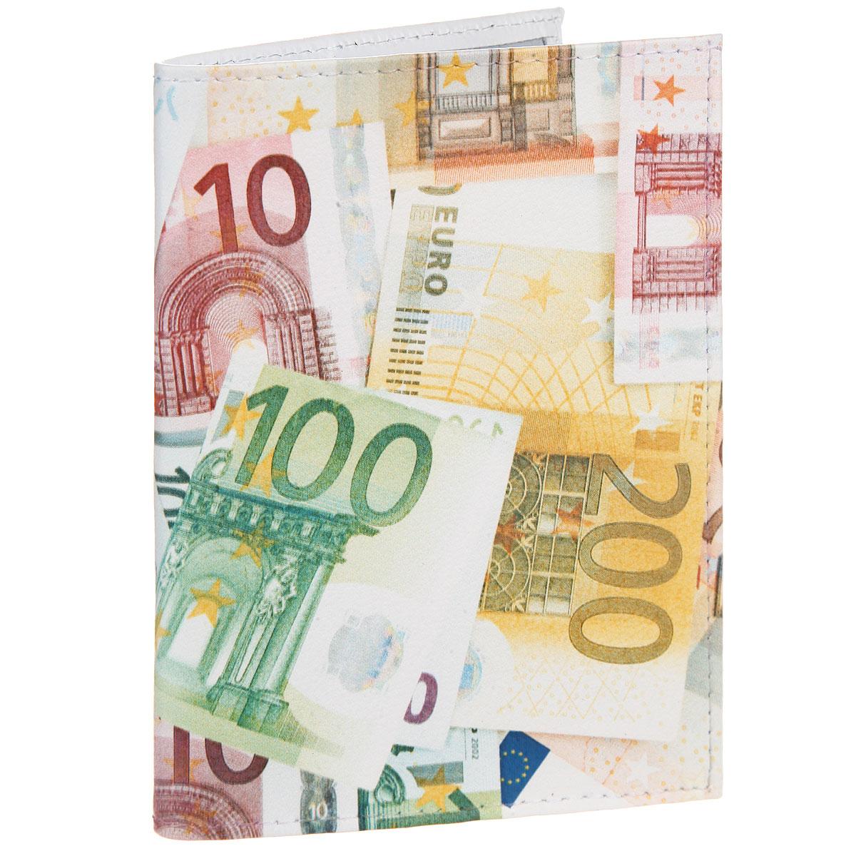 Обложка для паспорта Евро. OK354OK283Стильная обложка для паспорта Mitya Veselkov Евро выполнена из натуральной кожи с зернистой текстурой. Обложка оформлена художественной печатью с изображением купюр. На оборотной стороне имеет карман для посадочного талона.Элегантная обложка Mitya Veselkov Евро не только поможет сохранить внешний вид ваших документов и защитит их от повреждений, но и станет стильным аксессуаром, идеально подходящим вашему образу.