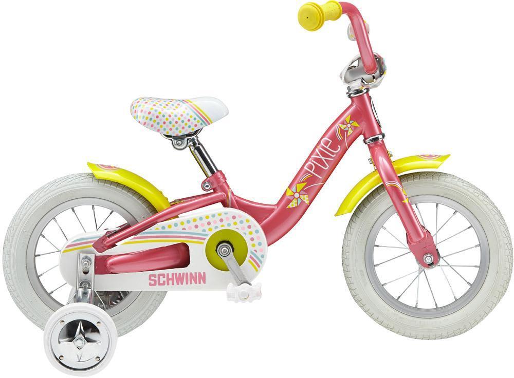 Велосипед детский Schwinn Pixie (2015) Pink46949Новая стальная рама Schwinn Sidewalk kids Women-Specific 12, разработанная специально для девочекБлагодаря быстросъемным шатунам можно сделать из велосипеда беговел 1-скорость, задний ножной тормозВилка: SchwinnСедло: Schwinn Sidewalk KidsЦепь: KMC Z410Спицы: Stainless 14gЗадняя втулка: SchwinnЗадняя покрышка: SchwinnПередняя покрышка: SchwinnРазмер рамы: 12.0