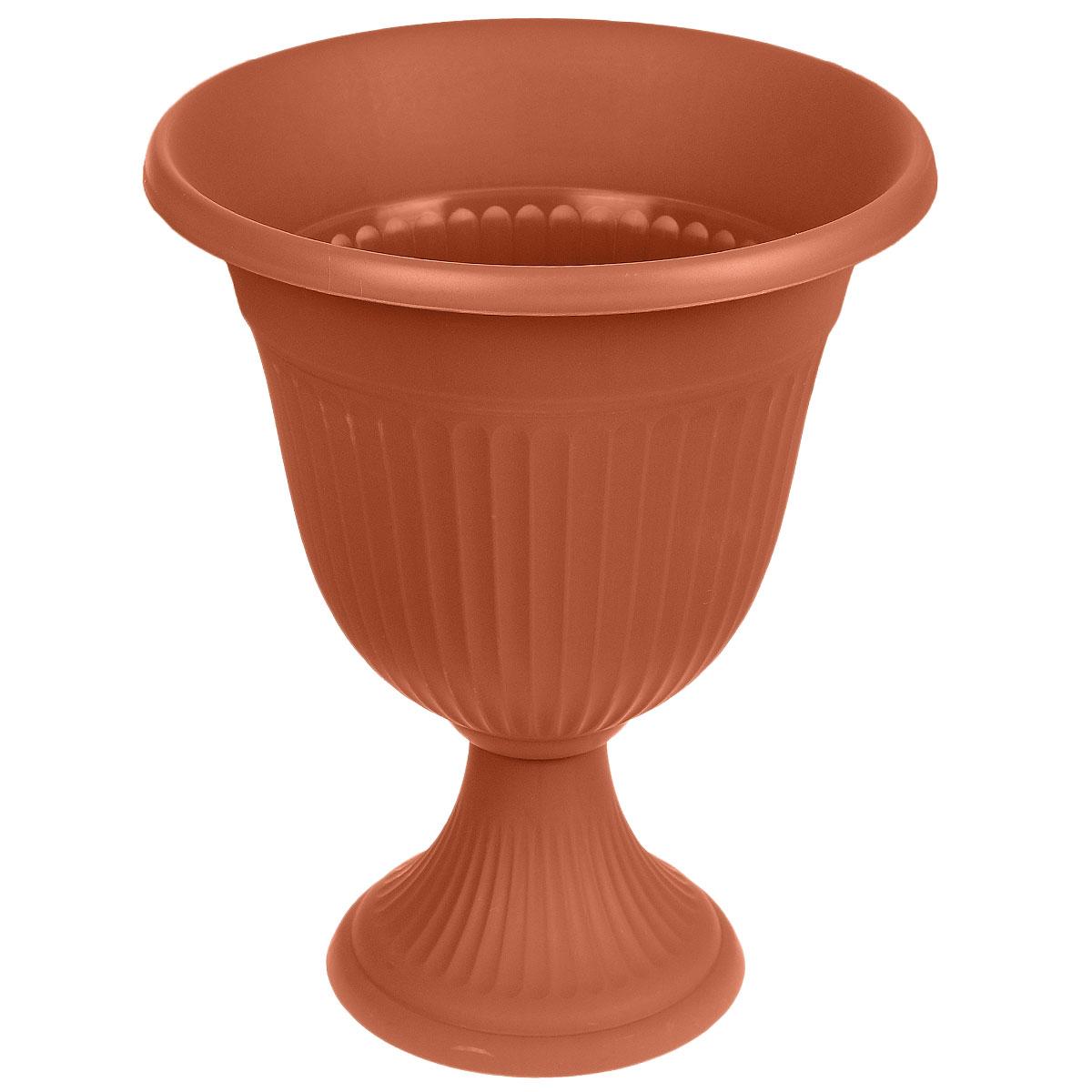 Вазон Idea Ливия, цвет: терракотовый, высота 43 смKOC_SOL249_G4Вазон Idea Ливия изготовлен из высококачественного полипропилена (пластика). Верхняя часть съемная.Благодаря устойчивому широкому основанию вазон не упадет. Такой вазон прекрасно подойдет для выращивания растений и цветов в домашних условиях. Классический дизайн впишется в любой интерьер. Диаметр (по верхнему краю): 35 см.Высота: 43 см.Диаметр основания: 20,5 см.