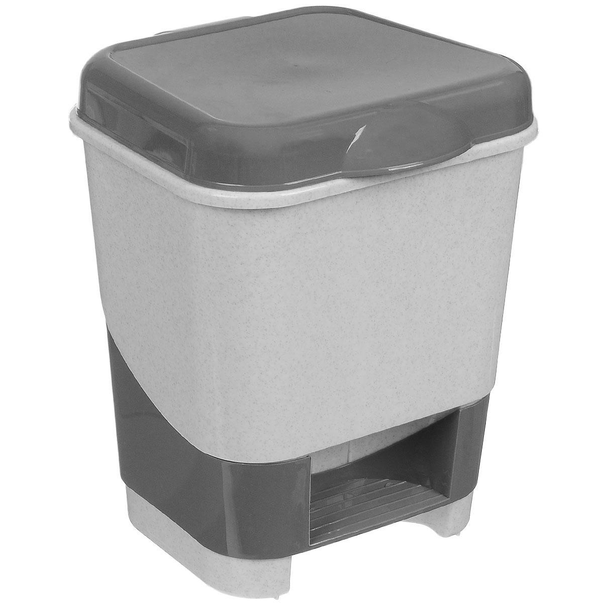 Контейнер для мусора Полимербыт, с педалью, цвет: серый, белый, 8 л98299571Контейнер для мусора Полимербыт изготовлен из высококачественного цветного пластика. Контейнер оснащен педалью, с помощью которой можно открыть крышку. Крышка плотно прилегает, предотвращая распространение запаха. Бороться с мелким мусором станет легко. Контейнер для мусора Полимербыт - это не только емкость для хранения мусора, но и яркий предмет декора, который оригинально украсит интерьер кухни или ванной комнаты.