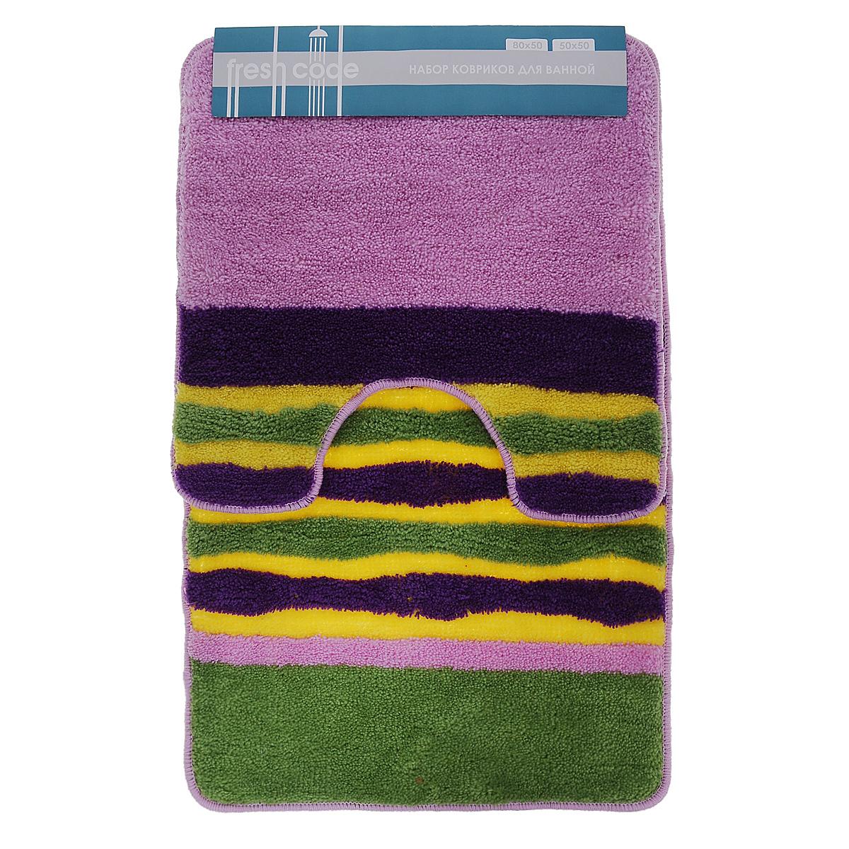 Комплект ковриков для ванной Fresh Code, цвет: салатовый, сиреневый, фиолетовый, 2 предметаS03301004Комплект Fresh Code состоит из коврика для ванной комнаты и туалета. Коврики изготовлены из акрила. Это экологически чистый, быстросохнущий, мягкий и износостойкий материал. Красители устойчивы, поэтому коврики не потускнеют даже после многократных стирок. Благодаря латексной основе коврики не скользят на полу. Края изделий обработаны оверлоком. Набор для ванной Fresh Code подарит ощущение тепла и комфорта, а также привнесет уют в вашу ванную комнату.Высота ворса: 1 см.Размер коврика для ванной комнаты: 80 см х 50 см.Размер коврика для туалета: 50 см х 50 см.