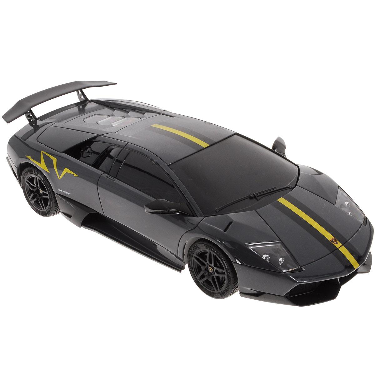 """Радиоуправляемая модель """"Top Gear: Lamborghini Murcielago LP670-4"""" является детальной копией существующего автомобиля в масштабе 1:18. Машинка изготовлена из прочного легкого пластика с элементами металла, колеса прорезинены. При помощи пульта управления автомобиль может перемещаться вперед, назад, поворачивать влево и вправо, останавливаться. Встроенные амортизаторы обеспечивают комфортное движение. При движении фары машинки светятся. В комплект входят машинка и пульт управления. Автомобиль отличается потрясающей маневренностью и динамикой. Ваш ребенок часами будет играть с моделью, устраивая захватывающие гонки. Машина работает от 4 батареек напряжением 1,5V типа АА (не входят в комплект). Пульт управления работает от 2 батареек напряжением 1,5V типа АА (не входят в комплект)."""