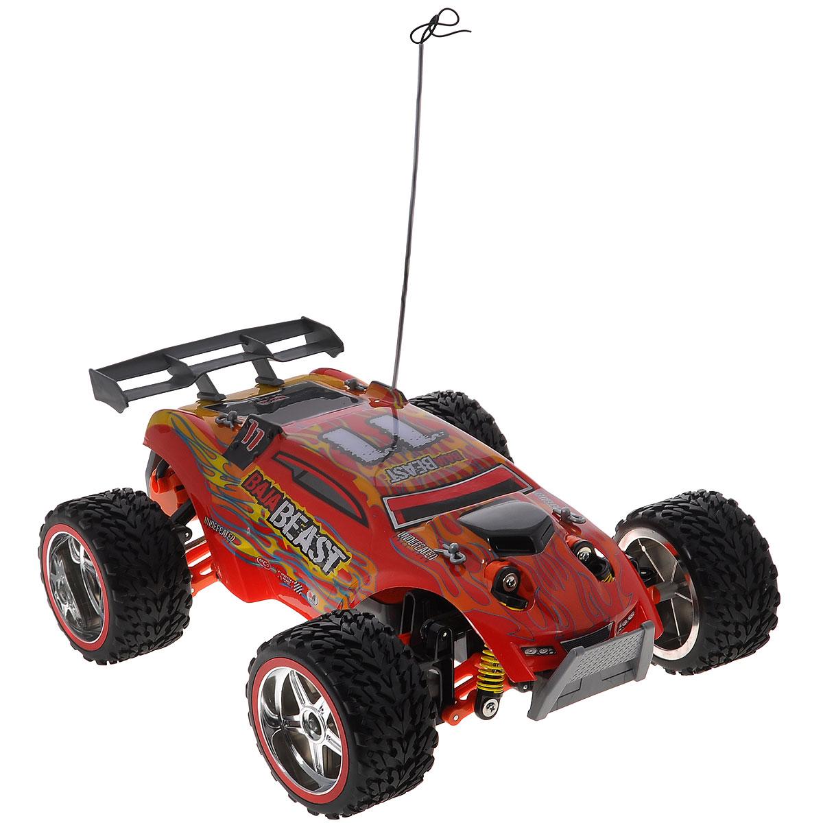 """Радиоуправляемая модель """"Baja Beast"""" с ярким динамичным дизайном обладает легким, но прочным каркасом, повышенной амортизацией колес и усиленной защитой. Все колеса машинки подпружинены. Модель оснащена ручной настройкой выравнивания передних колес. Скорость движения регулируется силой нажатия кнопки на пульте управления. Машинка движется вперед, дает задний ход, поворачивает влево и вправо, останавливается. Пульт управления имеет три канала, что позволяет одновременно играть трем игрокам. Такая модель станет отличным подарком не только любителю автомобилей, но и человеку, ценящему оригинальность и изысканность, а качество исполнения представит такой подарок в самом лучшем свете. Машина работает от аккумулятора 7,2V (входит в комплект), пульт управления работает от батареи напряжением 9V (входит в комплект)."""