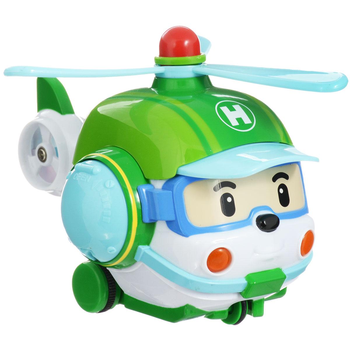 """Радиоуправляемая игрушка со световыми эффектами """"Хэли"""" привлечет внимание вашего ребенка и не позволит ему скучать. Она выполнена из прочного пластика голубого и зеленого цветов в виде вертолетика Хэли - персонажа мультфильма """"Робокар Поли и его друзья"""". Игрушка может двигаться вперед, поворачивать направо и разворачиваться. Во время движения у нее светятся фары. Колеса вертолета дополнены резиновыми вставками, которые исключают скольжение игрушки на гладкой поверхности. К вертолету прилагается пульт с инфракрасным дистанционным управлением, на котором имеются две крупные кнопки выбора направления движения игрушки и кнопка включения. В комплект входит инструкция по эксплуатации на русском языке. Такая замечательная игрушка подарит вашему малышу массу положительных эмоций! Для работы машинки необходимы 3 батареи напряжением 1,5V типа АА, для работы пульта управления 1 батарея напряжением 9V типа 6LR61 (не входят в комплект)."""