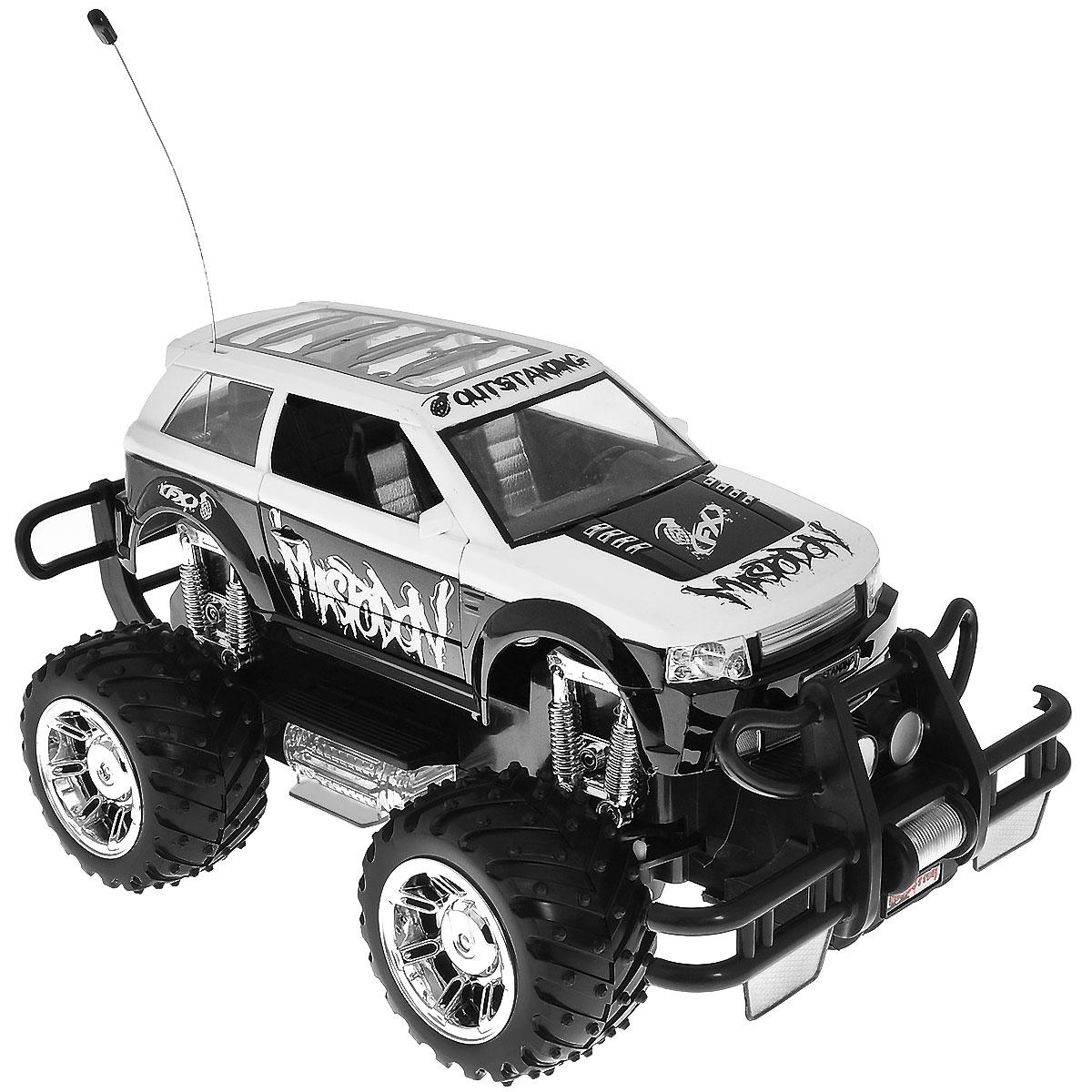 """Машина на радиоуправлении Balbi """"Mastodon станет отличным подарком любому мальчишке! Мощный внедорожник на огромных колесах с настоящими пружинными амортизаторами и внушительным пластиковым бампером не оставит равнодушными ни детей, ни взрослых. Модель выполнена из прочного безопасного пластика в масштабе 1/14 к реальному прототипу. Благодаря выдающимся характеристикам ходовой части играть с машиной можно на улице, при этом она будет легко преодолевать значительные препятствия. Машинка движется вперед, назад, вправо, влево и останавливается. Передние двери открываются, а при движении фары машины светятся, и воспроизводится звук мотора. Пульт управления работает на частоте 27 MHz. Машина работает от сменного аккумулятора (входит в комплект). Для работы пульта управления необходимо докупить 2 батарейки напряжением 1,5V типа АА (не входят в комплект)."""