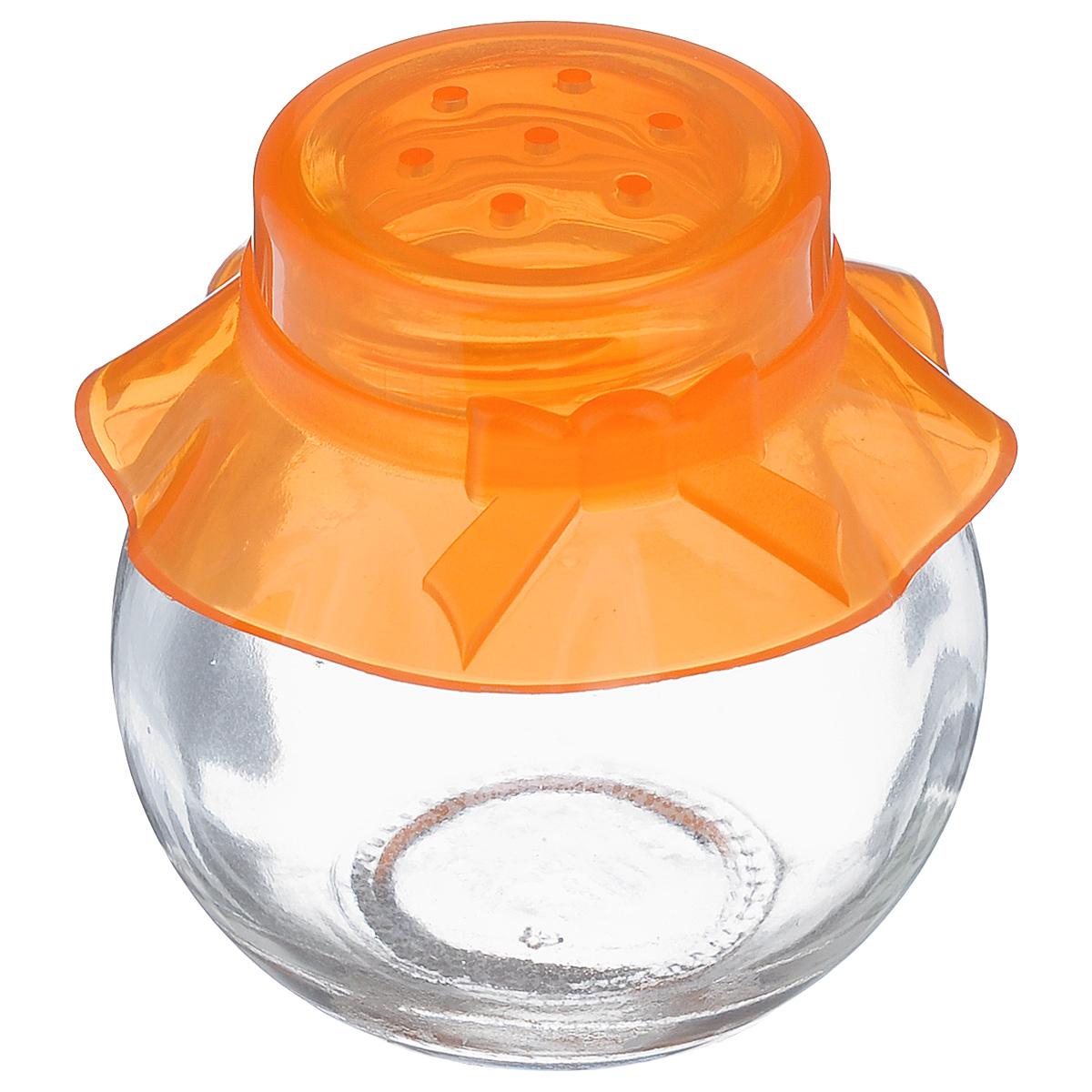 Банка для специй Herevin, цвет: прозрачный, оранжевый, 60 мл. 121051-000FD-59Банка для специй Herevin выполнена из прозрачного стекла и оснащена пластиковой цветной крышкой с отверстиями, благодаря которым, вы сможете приправить блюда, просто перевернув банку. Крышка легко откручивается, благодаря чему засыпать приправу внутрь очень просто. Такая баночка станет достойным дополнением к вашему кухонному инвентарю. Можно мыть в посудомоечной машине.Объем: 60 мл.Диаметр (по верхнему краю): 2,5 см.Высота банки (без учета крышки): 5,5 см.
