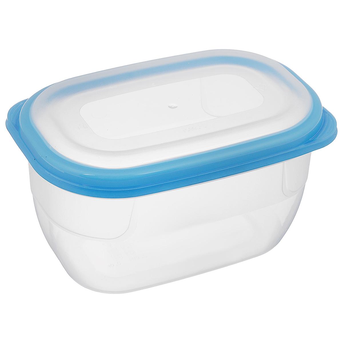 Контейнер для СВЧ Полимербыт Премиум, цвет: прозрачный, голубой, 750 млFA-5125 WhiteКонтейнер Полимербыт Премиум прямоугольной формы, изготовленный из прочного пластика, предназначен специально для хранения пищевых продуктов. Крышка легко открывается и плотно закрывается.Контейнер устойчив к воздействию масел и жиров, легко моется. Прозрачные стенки позволяют видеть содержимое. Контейнер имеет возможность хранения продуктов глубокой заморозки, обладает высокой прочностью. Можно мыть в посудомоечной машине.Контейнер подходит для использования в микроволновой печи без крышки, а также для заморозки в морозильной камере.