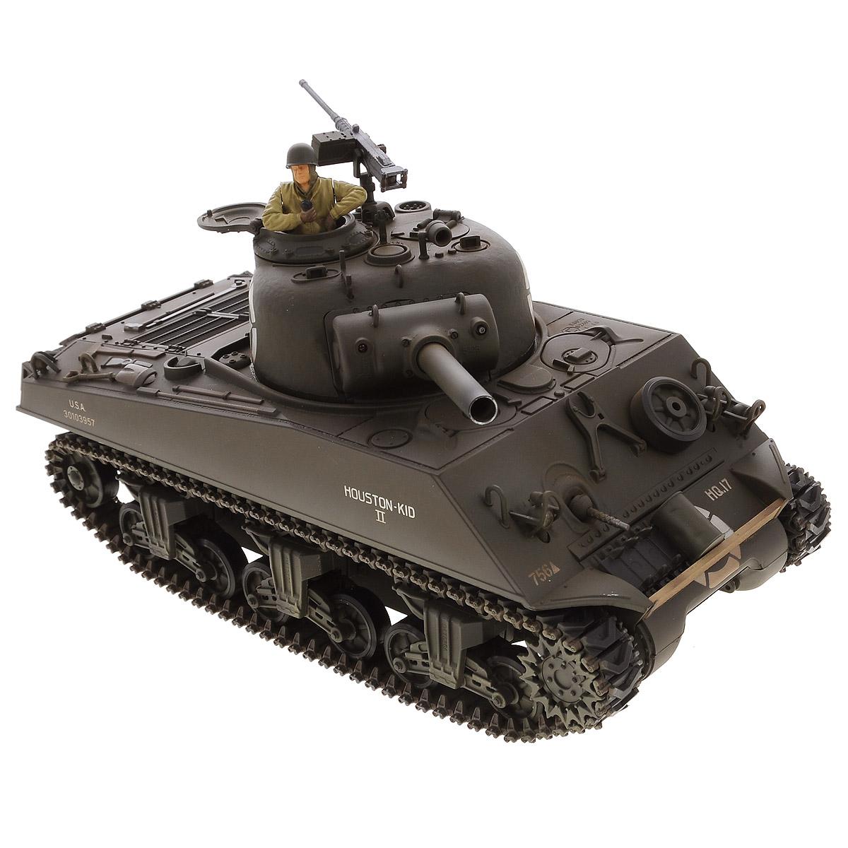 """Радиоуправляемый танк VSP """"US M4A3 Sherman"""" - это высокотехнологичная коллекционная модель в масштабе 1/24. Она представляет собой уменьшенную копию основного среднего танка вооруженных сил США времен Второй мировой войны, известного как """"М4 Шерман"""". Эта боевая машина была разработана в 1940 году и широко использовалась на всех местах боевых действий, а также в больших количествах поставлялась союзникам (Великобритании и СССР). Пульт управления работает на частоте 2,4 ГГц и оснащен светодиодной подсветкой голубого цвета. Система Airsoft обеспечивает постоянное движение танка и стрельбу из пневматической пушки. Данная модель может стрелять мягкими (пневматическими) BB шариками, поэтому имеет возрастное ограничение от 14 лет. Благодаря работе на частоте 2,4 ГГц танк будет легко сопрягаться с пультом управления. Новые электронные схемы, примененные в этом пульте, позволяют принимать участие в игровых сражениях одновременно 16 танкам. Радиус..."""