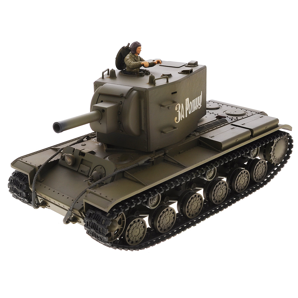 """Радиоуправляемый танк VSP """"Soviet Red Army KV-2"""" - это реалистичная коллекционная модель в масштабе 1/24. Она представляет собой уменьшенную копию советского тяжелого штурмового танка времен Второй мировой войны, известного как """"КВ-2"""" (Клим Ворошилов). Эта модель танка производилась в 1939 - 1943-х годах, когда советская армия остро нуждалась в хорошо защищенном танке с мощным вооружением для борьбы с фортификациями. Пульт управления работает на частоте 2,4 ГГц и оснащен светодиодной подсветкой голубого цвета. Система Airsoft обеспечивает постоянное движение танка и стрельбу из пневматической пушки. Данная модель может стрелять мягкими (пневматическими) BB шариками, поэтому имеет возрастное ограничение от 14 лет. Благодаря работе на частоте 2,4 ГГц танк будет легко сопрягаться с пультом управления. Новые электронные схемы, примененные в этом пульте, позволяют принимать участие в игровых сражениях одновременно 16 танкам. Радиус управления заметно..."""