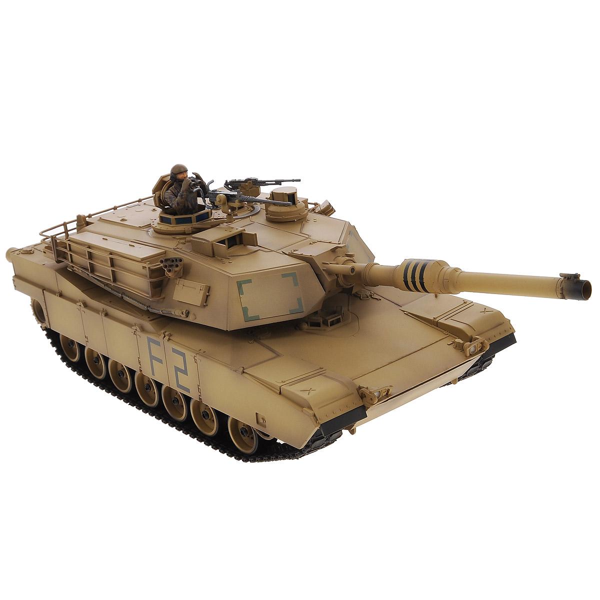 """Радиоуправляемый танк VSP """"US M1A2 Abrams"""" - это реалистичная коллекционная модель в масштабе 1/24. Она представляет собой уменьшенную копию американского основного танка, известного как """"M1 Абрамс"""". Эта модель серийно выпускается с 1980 года и стоит на вооружении армии и морской пехоты различных стран (США, Саудовская Аравия, Кувейт, Австралия). Пульт управления работает на частоте 2,4 ГГц и оснащен светодиодной подсветкой голубого цвета. Система Airsoft обеспечивает постоянное движение танка и стрельбу из пневматической пушки. Данная модель может стрелять мягкими (пневматическими) BB шариками, поэтому имеет возрастное ограничение от 14 лет. Благодаря работе на частоте 2,4 ГГц танк будет легко сопрягаться с пультом управления. Новые электронные схемы, примененные в этом пульте, позволяют принимать участие в игровых сражениях одновременно 16 танкам. Радиус управления заметно увеличился и составляет 40-50 метров на улице и 25-30 метров внутри ..."""