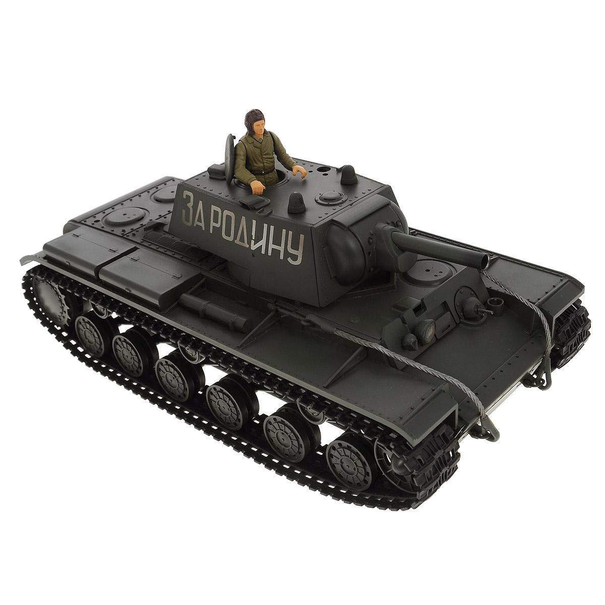 """Радиоуправляемый танк VSP """"Soviet Red Army KV-1"""" - это реалистичная коллекционная модель в масштабе 1/24. Она представляет собой уменьшенную копию советского тяжелого танка времен Второй мировой войны, известного как """"КВ-1"""" (Клим Ворошилов). Эта модель танка производилась в 1939 - 1942-х годах, участвовала в Советско-Финской войне, и обладала мощной защитой для своего времени. Пульт управления работает на частоте 2,4 ГГц и оснащен светодиодной подсветкой голубого цвета. Система Airsoft обеспечивает постоянное движение танка и стрельбу из пневматической пушки. Данная модель может стрелять мягкими (пневматическими) BB шариками, поэтому имеет возрастное ограничение от 14 лет. Благодаря работе на частоте 2,4 ГГц танк будет легко сопрягаться с пультом управления. Новые электронные схемы, примененные в этом пульте, позволяют принимать участие в игровых сражениях одновременно 16 танкам. Радиус управления заметно увеличился и составляет 40-50 метров на..."""