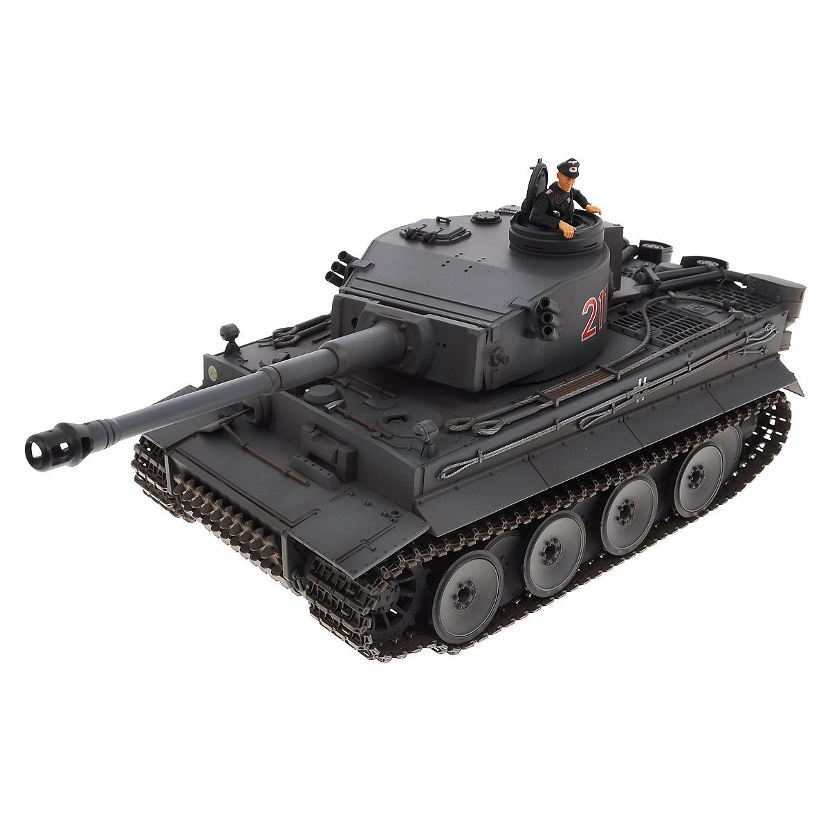"""Радиоуправляемый танк VSP """"German Tiger I"""" - это современная коллекционная модель в масштабе 1/24. Она представляет собой уменьшенную копию легендарного тяжелого танка времен Второй мировой войны, известного как """"Тигр"""". Эта боевая машина была разработана и произведена в 1941-1942 годах фирмой """"Хеншель"""". Пульт управления работает на частоте 2,4 ГГц и оснащен светодиодной подсветкой голубого цвета. Система Airsoft обеспечивает постоянное движение танка и стрельбу из пневматической пушки. Данная модель может стрелять мягкими (пневматическими) BB шариками, поэтому имеет возрастное ограничение от 14 лет. Благодаря работе на частоте 2,4 ГГц танк будет легко сопрягаться с пультом управления. Новые электронные схемы, примененные в этом пульте, позволяют принимать участие в игровых сражениях одновременно 16 танкам. Радиус управления заметно увеличился и составляет 40-50 метров на улице и 25-30 метров внутри помещений. Для пульта управления..."""