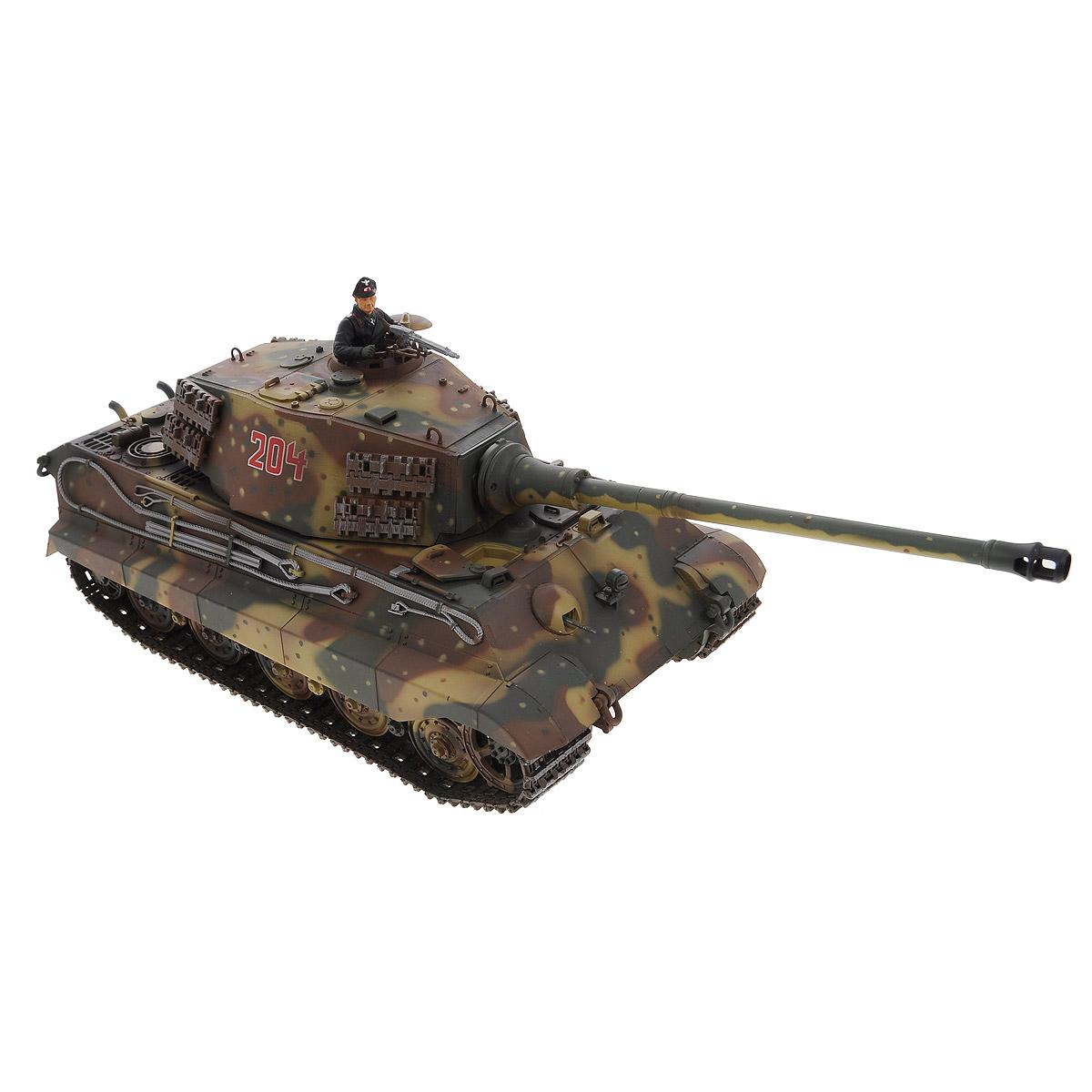 """Радиоуправляемый танк VSP """"German King Tiger"""" - это высокотехнологичная коллекционная модель в масштабе 1/24. Она представляет собой уменьшенную копию немецкого тяжелого танка времен Второй мировой войны, известного как """"Тигр II"""". Эта модель танка производилась в 1944 году и была мощнейшей серийной боевой машиной благодаря 88-мм пушке и надежной защите от противотанковых средств. Пульт управления работает на частоте 2,4 ГГц и оснащен светодиодной подсветкой голубого цвета. Система Airsoft обеспечивает постоянное движение танка и стрельбу из пневматической пушки. Данная модель может стрелять мягкими (пневматическими) BB шариками, поэтому имеет возрастное ограничение от 14 лет. Благодаря работе на частоте 2,4 ГГц танк будет легко сопрягаться с пультом управления. Новые электронные схемы, примененные в этом пульте, позволяют принимать участие в игровых сражениях одновременно 16 танкам. Радиус управления заметно увеличился и составляет 40-50 метров на..."""