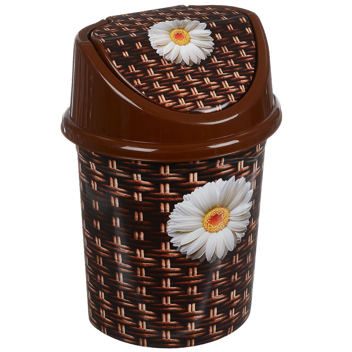 Контейнер для мусора Violet Плетенка, цвет: коричневый, белый, желтый, 8 л531-105Контейнер для мусора Violet Плетенка выполнен из пластика и декорирован ярким рисунком. Такой аксессуар очень удобен в использовании, как дома, так и в офисе. Оснащен крышкой с подвижной перегородкой.Размер контейнера (без учета крышки): 25 см х 20 см х 26 см.