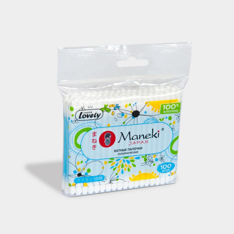 Maneki Палочки ватные гигиен Lovely, с голубым пластиковым стиком, в zip-пакете, 100 шт.CB913Палочки ватные гигиенические с голубым пластиковым стиком в упаковке с zip-замком. Идеально подходят для гигиенических и косметических целей. Оригинальный дизайн упаковки, в упаковке 100 палочек из 100% хлопка.