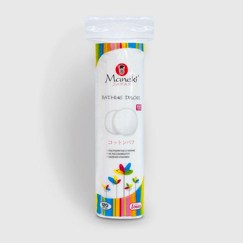Maneki Диски ватные косметические Lovely, 120 шт.28032022Ватные диски особой структуры для экономичного расхода косметических средств. 100% хлопок высшего качества, Идеально подходят для ежедневного ухода за кожей, отлично подходят для гигиенических и косметических процедур. Диски надежно скреплены, не расслаиваются. Мягкая нежная поверхность. Удобная упаковка с zip-замком, в упаковке 120 шт.