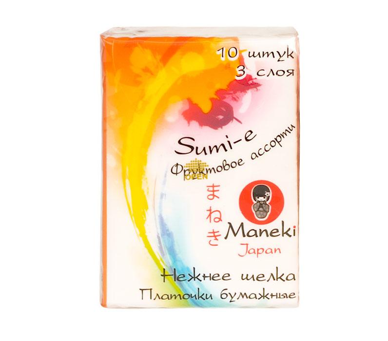 Maneki Платочки бумажные Sumi-e, 3 слоя, 10 шт. в пачке, с ароматом фруктов28032022Платочки бумажные из 100% целлюлозы в компактной упаковке с ароматом фруктов. Платочки мягкие и не вызывают раздражения кожи, приятны на ощупь. Инновационная структура обеспечивает непревзойденную впитываемость. В упаковке 10 штук, размер листа 210х210 мм