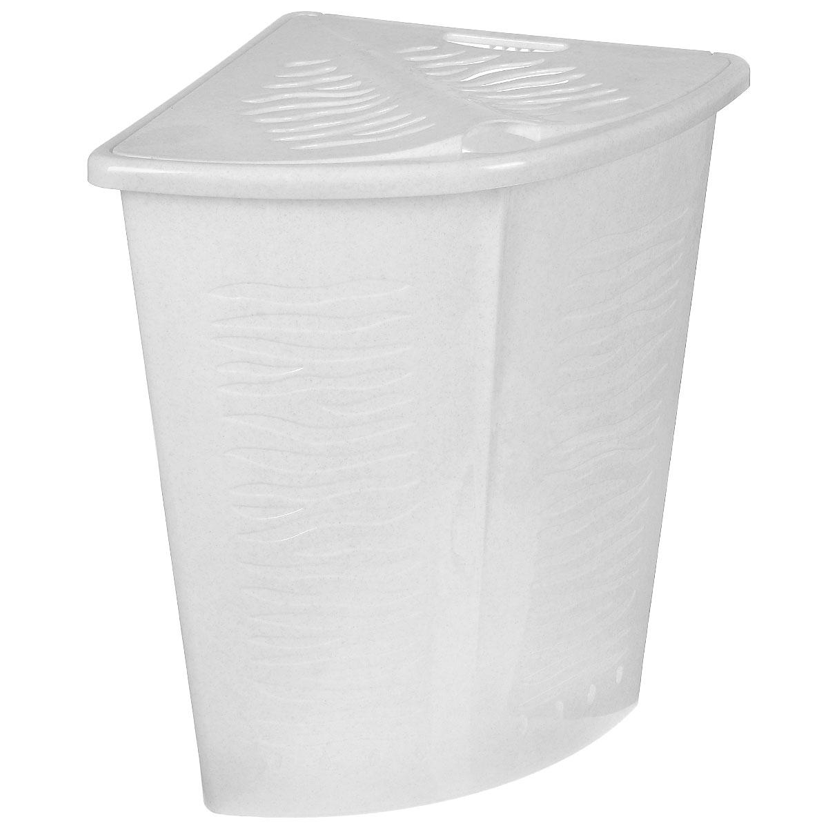 Корзина для белья BranQ Зебра, угловая, цвет: белый, 40 л12723Корзина для белья BranQ Зебра изготовлена из прочного пластика. Корзина пропускает воздух, устойчива к перепадам температур и влажности, поэтому идеально подходит для ванной комнаты. Изделие оснащено выемкой под руку и крышкой. Можно использовать для хранения белья, детских игрушек, домашней обуви и прочих бытовых вещей. Элегантный дизайн подойдет к интерьеру любой ванной.