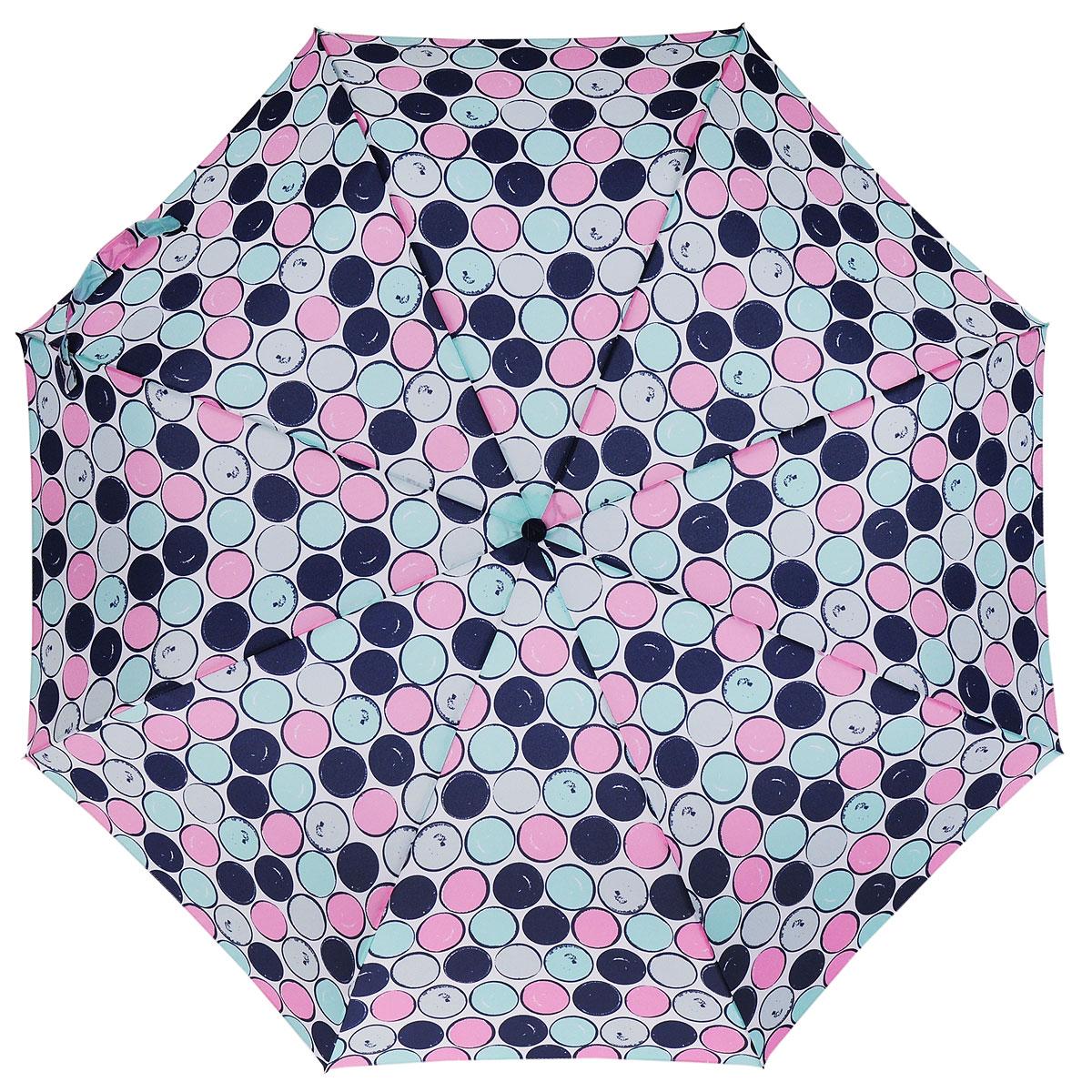 Зонт женский Fulton Minilite, механический, 3 сложения, цвет: белый. L354-2766П300020005-20Очаровательный механический зонт Fulton Minilite в 3 сложения изготовлен из высокопрочных материалов. Каркас зонта состоит из 8 спиц и прочного алюминиевого стержня. Купол зонта выполнен из прочного полиэстера с водоотталкивающей пропиткой и оформлен принтом в виде разноцветных кружков. Рукоятка изготовлена из пластика. Зонт имеет механический механизм сложения купол открывается и закрывается вручную до характерного щелчка. Небольшой шнурок, расположенный на рукоятке, позволяет надеть изделие на руку при необходимости.Модель закрывается при помощи хлястика на липучку. К зонту прилагается чехол.Прелестный зонт не только выручит вас в ненастную погоду, но и станет стильным аксессуаром, прекрасно дополнит ваш модный образ.